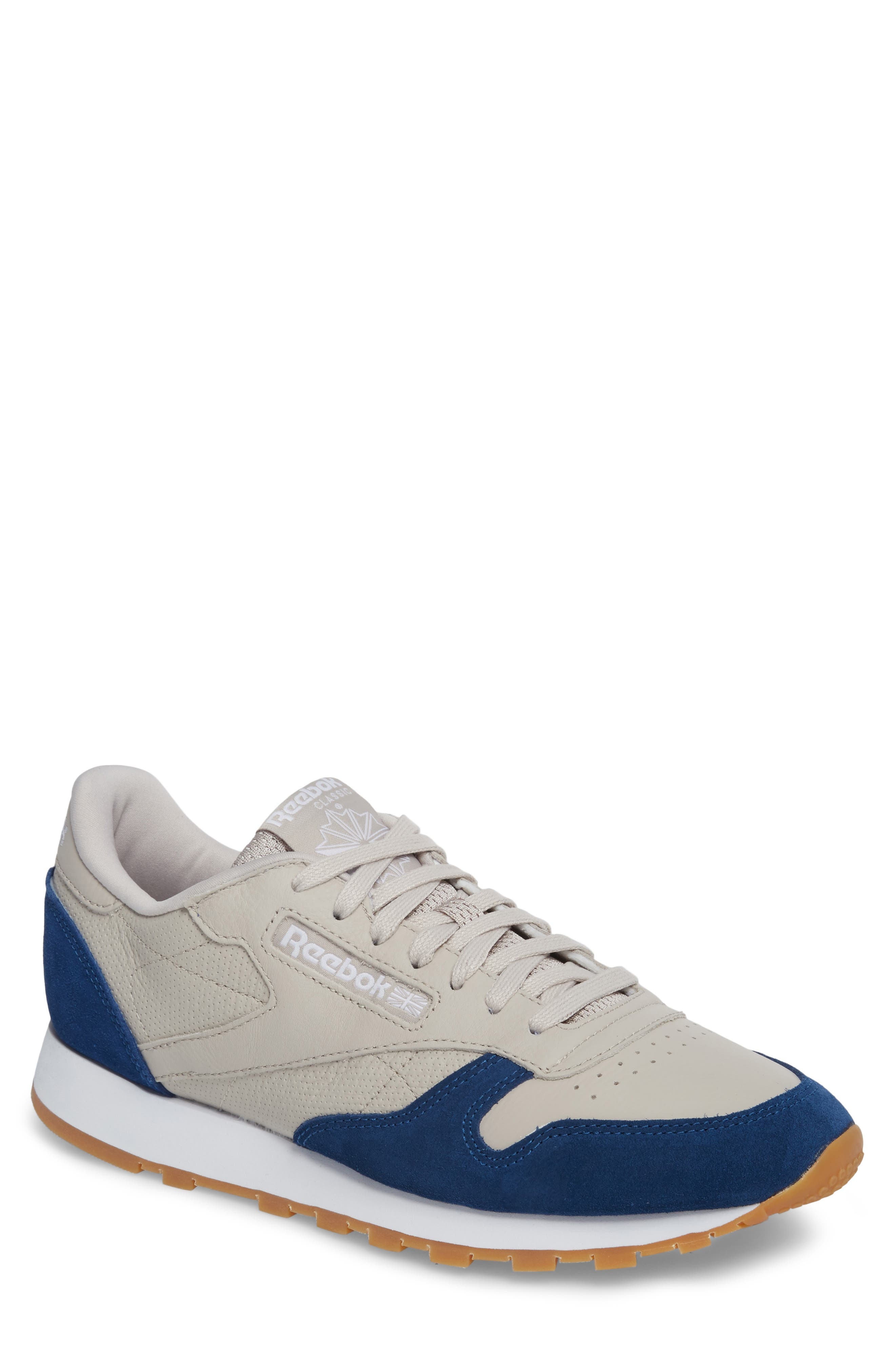 Classic Leather GI Sneaker,                             Main thumbnail 1, color,                             Sand Stone/ Washed Blue/ White