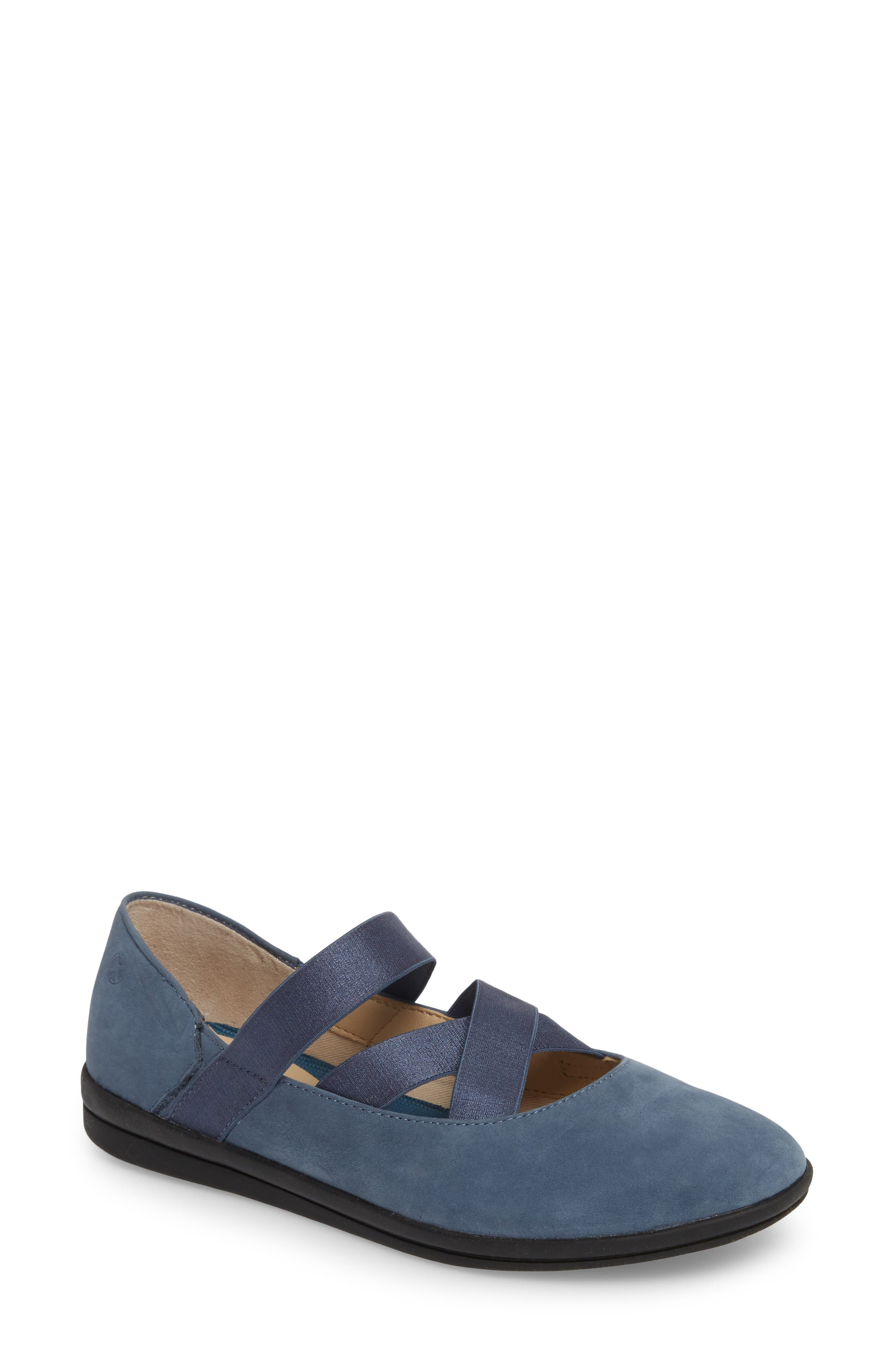 Meree Madrine Cross Strap Flat,                         Main,                         color, Vintage Indigo Nubuck Leather