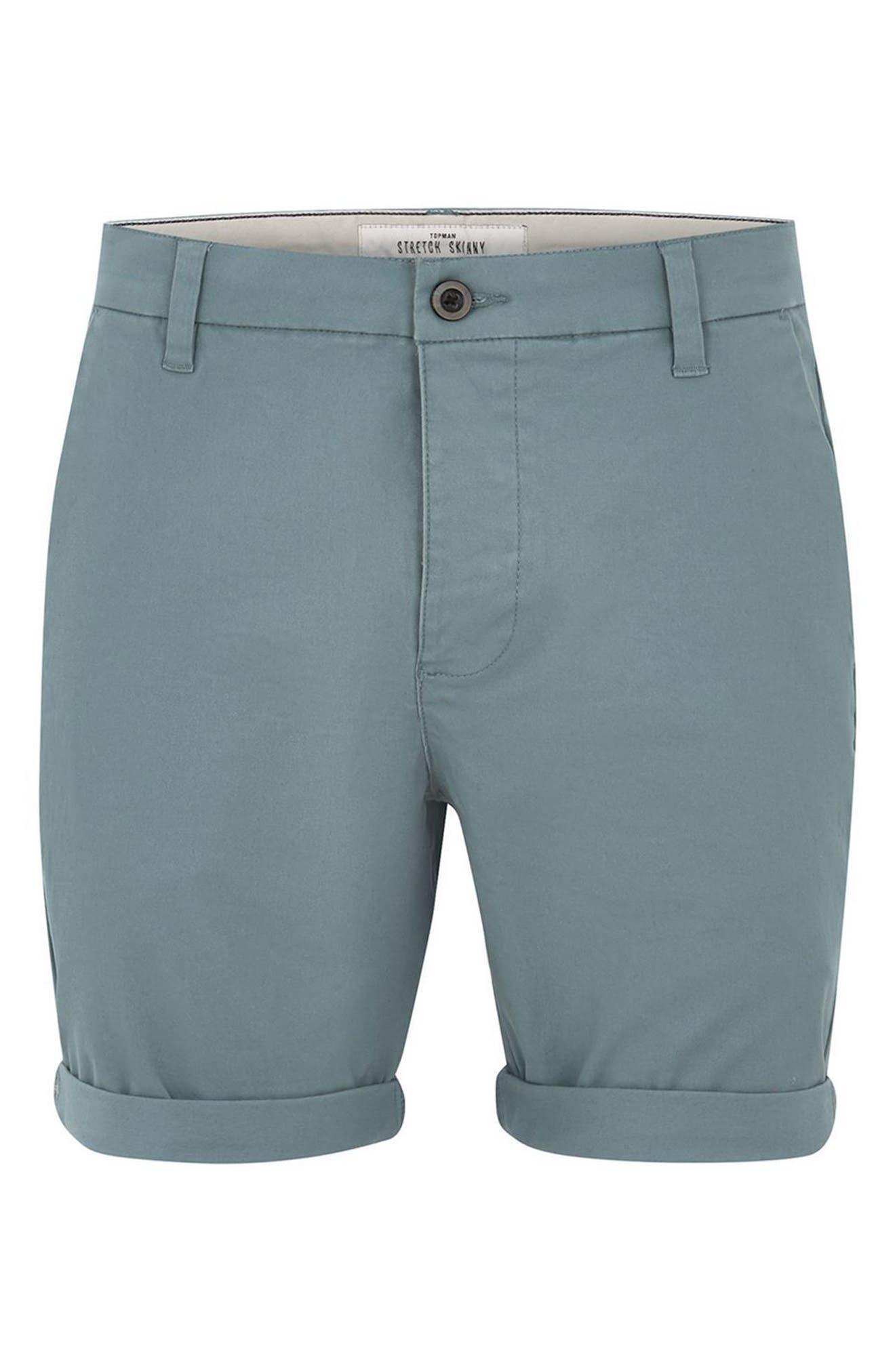 Skinny Fit Chino Shorts,                             Alternate thumbnail 4, color,                             Dark Blue