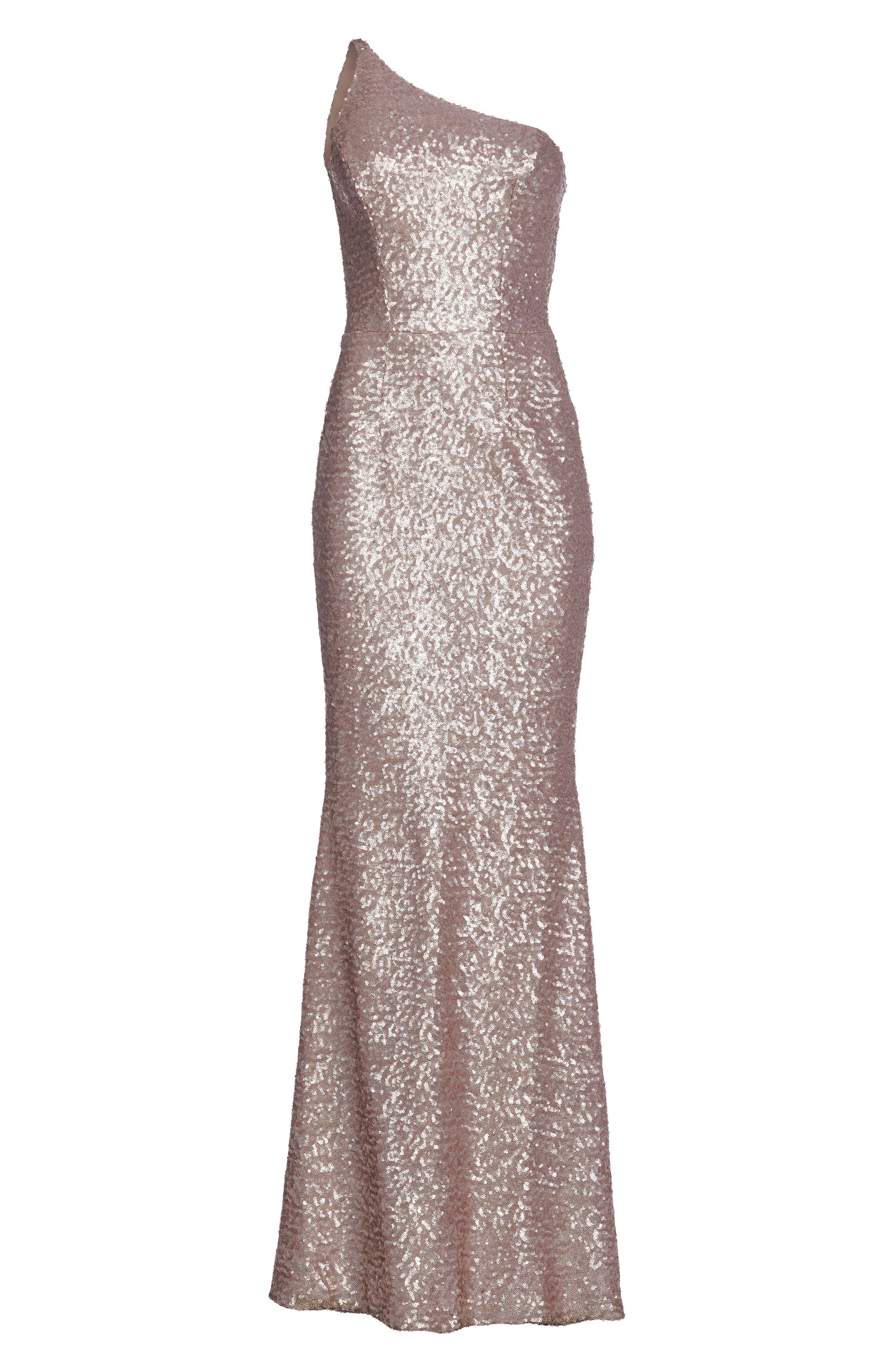 Bella One-Shoulder Mermaid Gown,                             Alternate thumbnail 5, color,                             Ice Pink