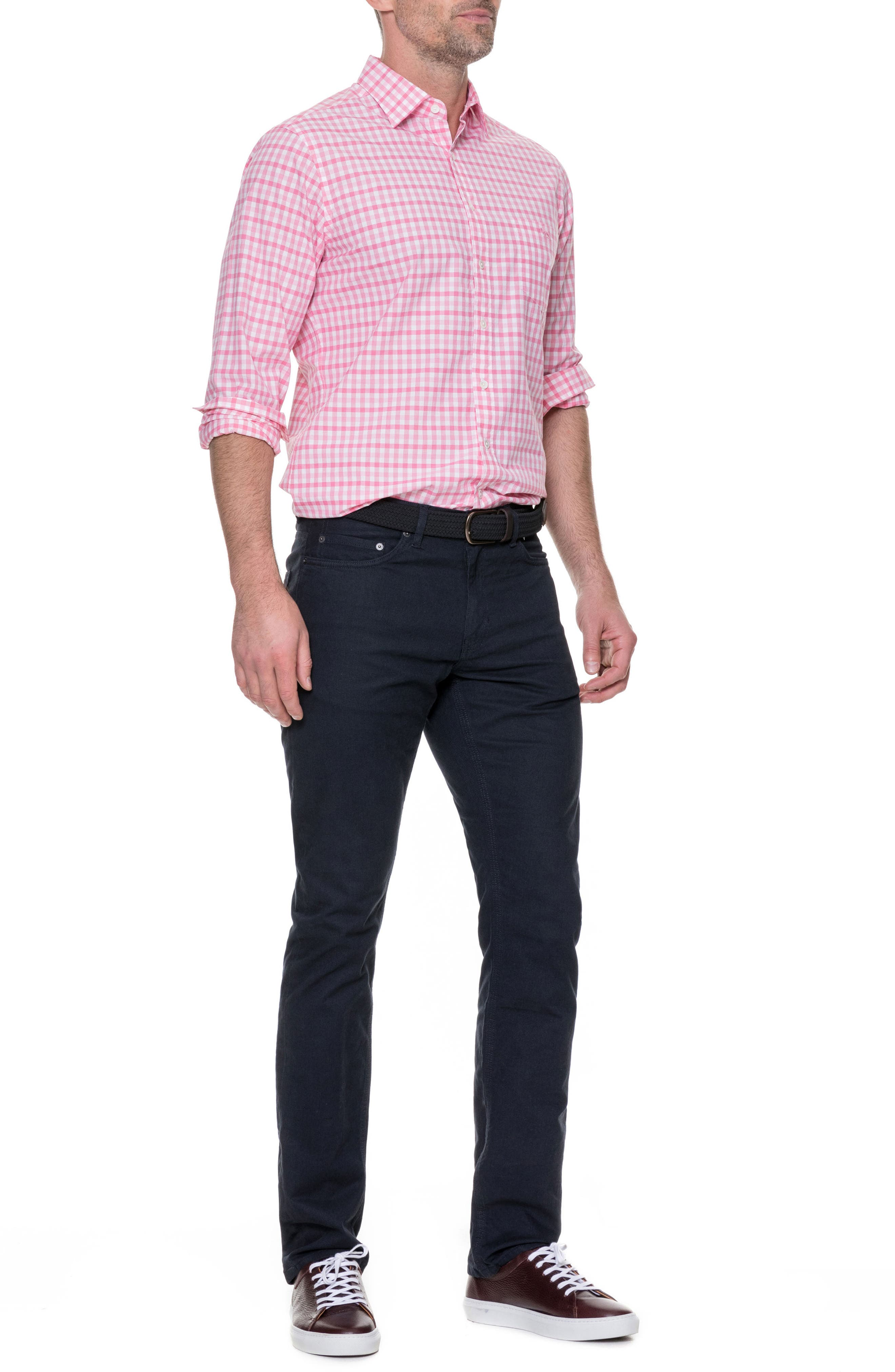 Shorecliffe Regular Fit Gingham Sport Shirt,                             Alternate thumbnail 6, color,                             Fuchsia