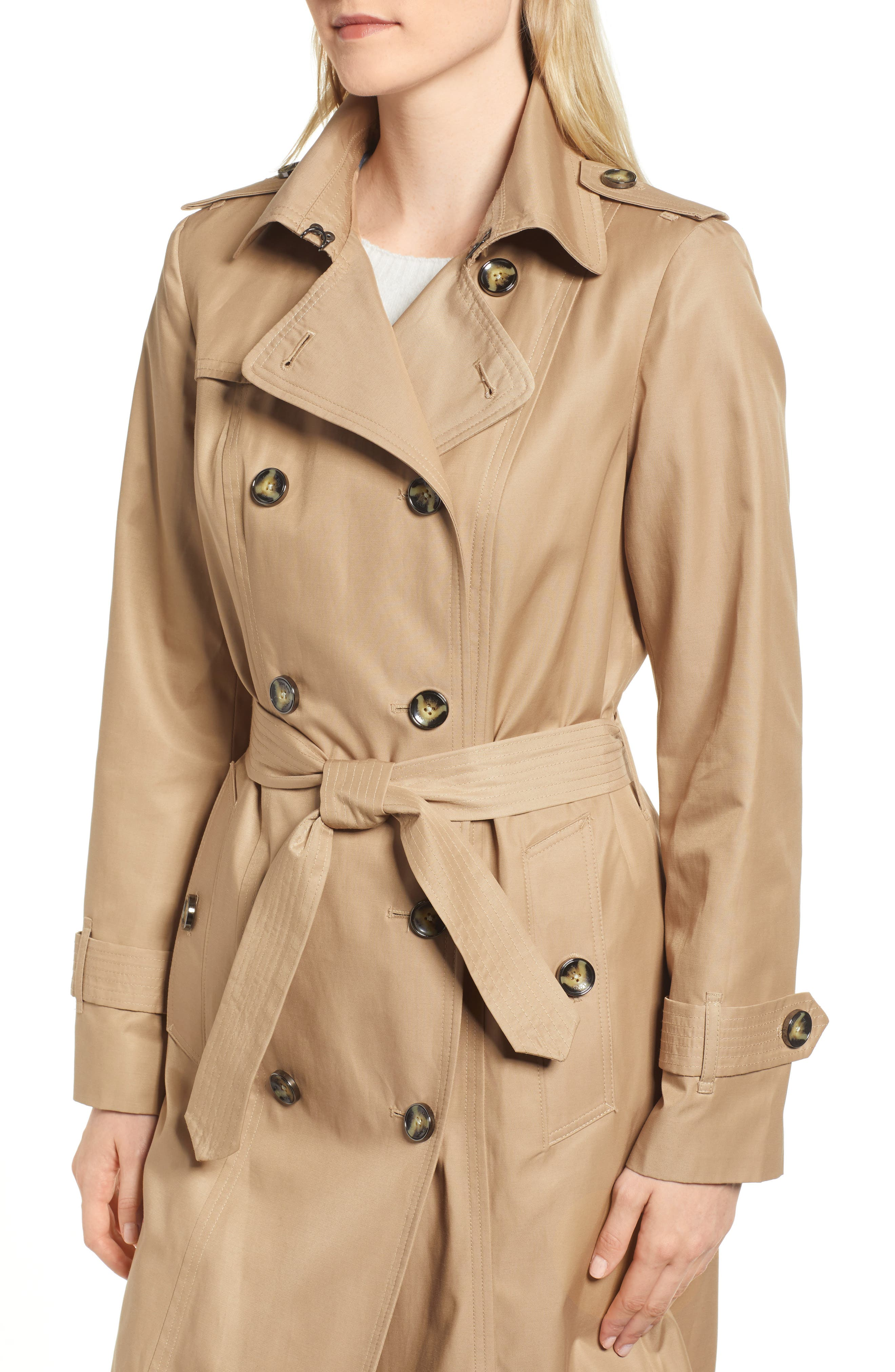 Double Breasted Trench Coat,                             Alternate thumbnail 4, color,                             Br Khaki