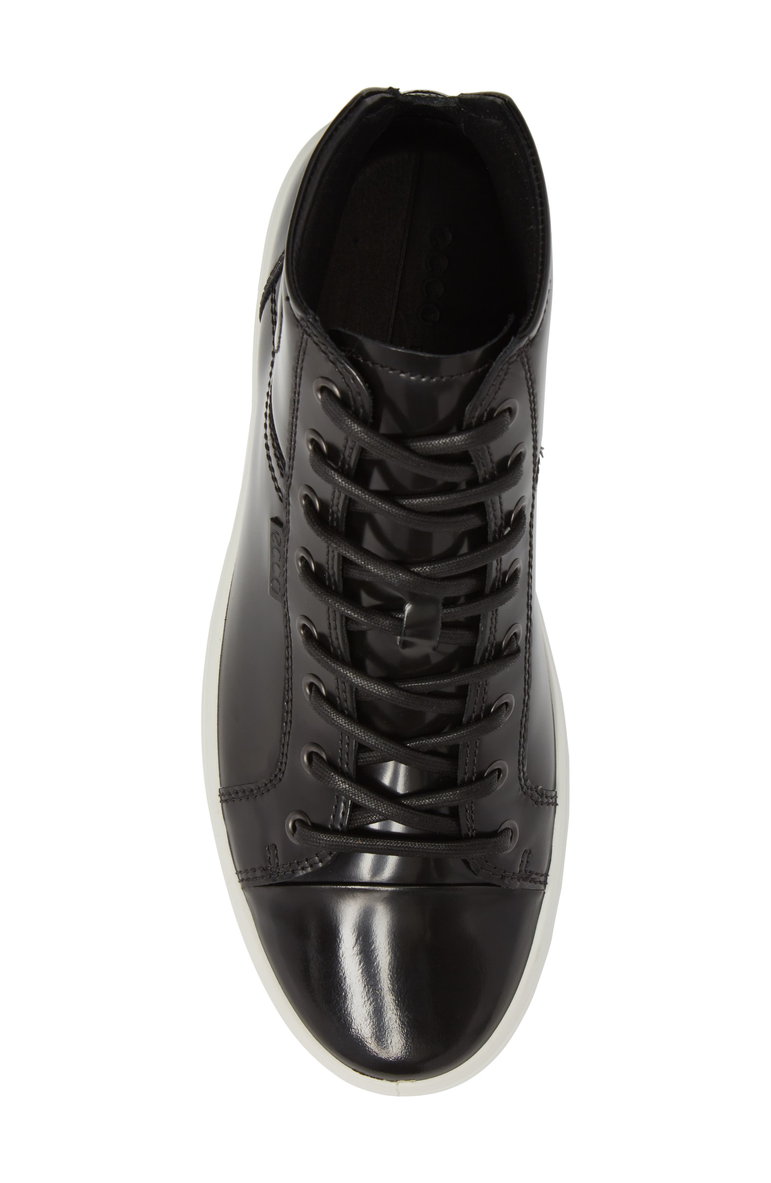 Soft 7 Premium High Top Sneaker,                             Alternate thumbnail 5, color,                             Black Leather