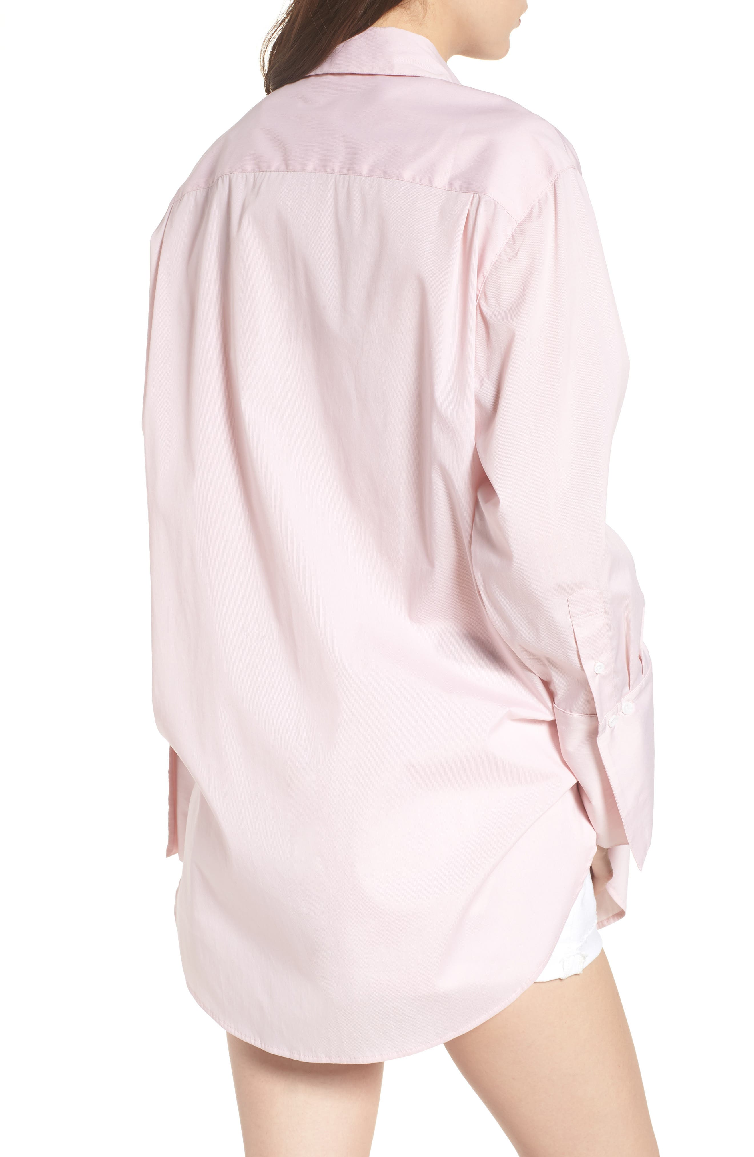 Loose Sleeve Poplin Tunic Shirt,                             Alternate thumbnail 3, color,                             Pink Silver Micro Stripe