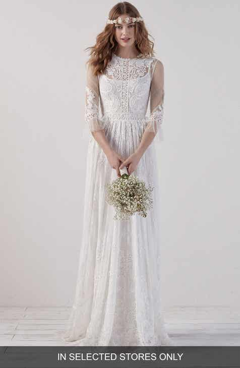 2fd44d1fee55 Pronovias Edet Boho Lace Gown