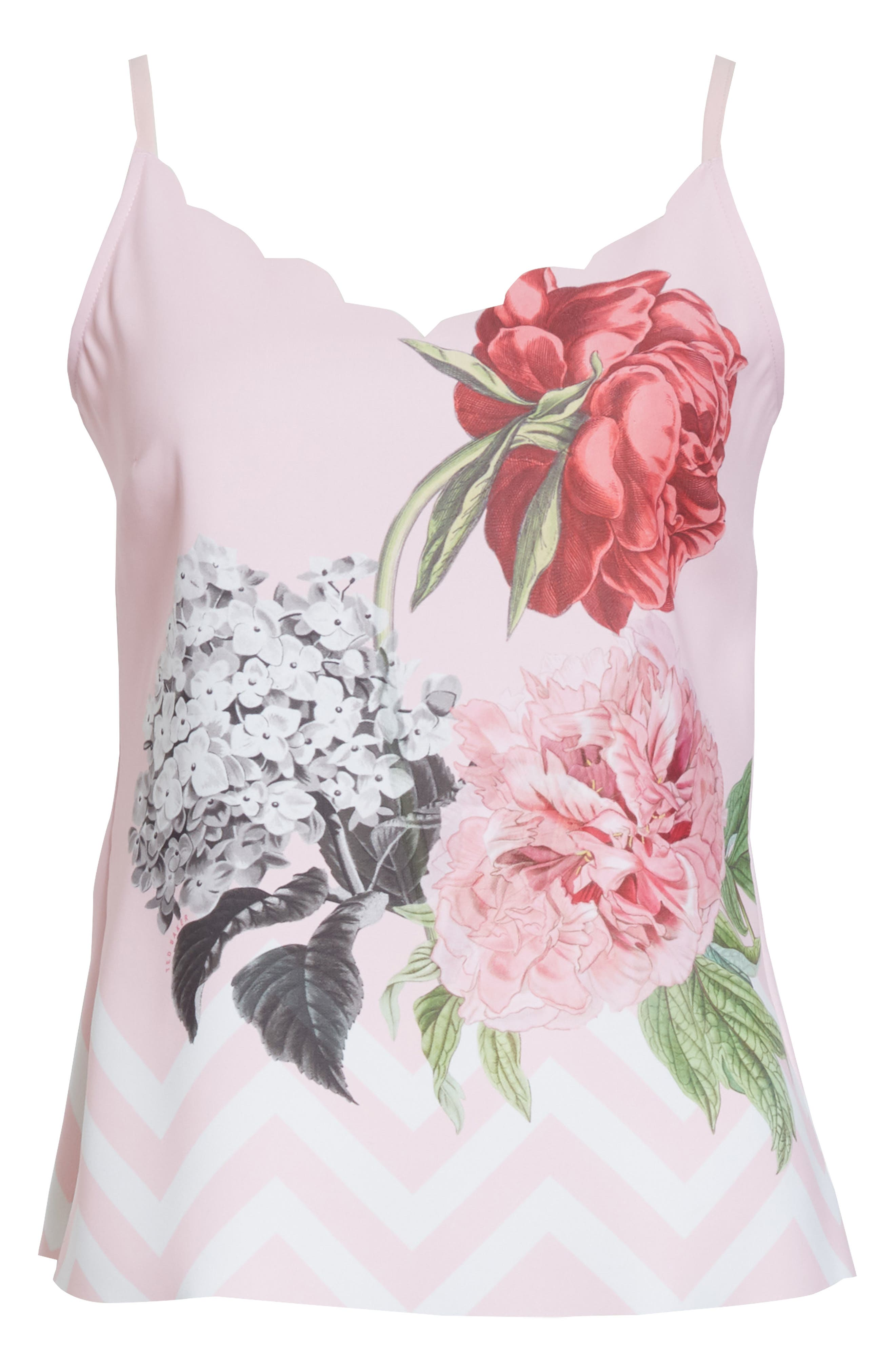 Palace Gardens Scalloped Camisole,                             Alternate thumbnail 6, color,                             Pale Pink
