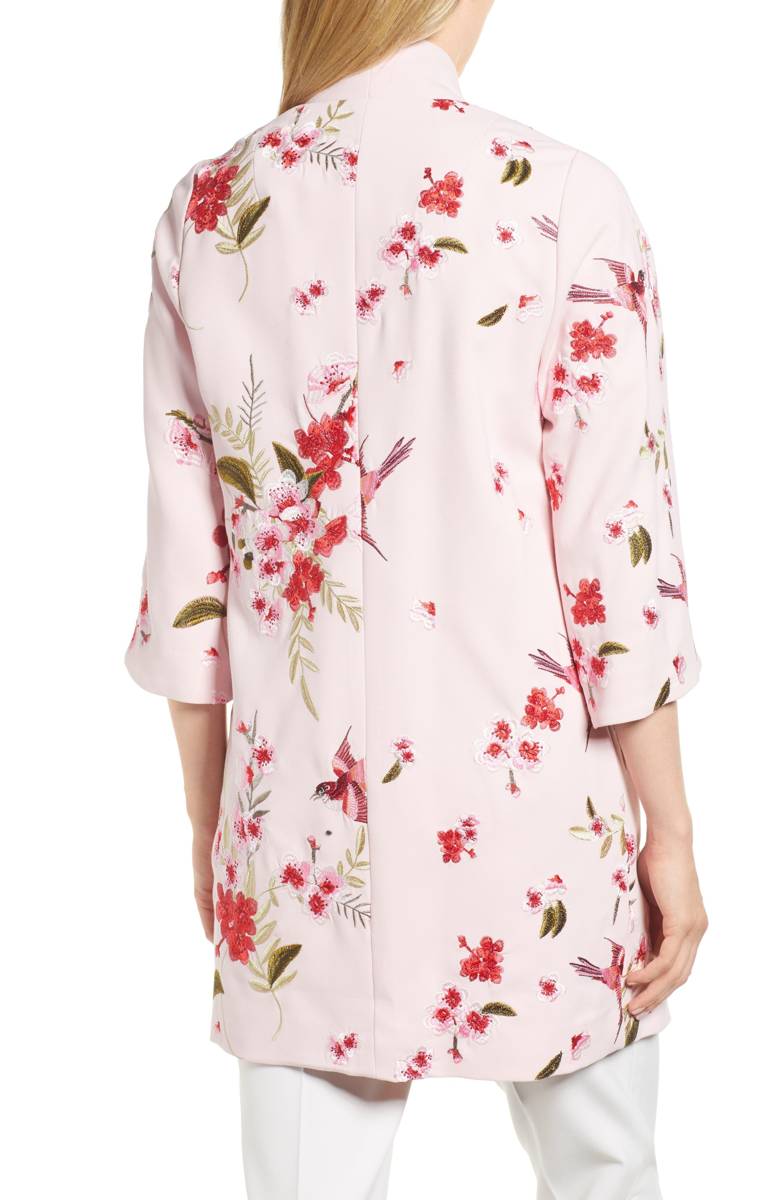 Bird & Blossom Spring Kimono,                             Alternate thumbnail 2, color,                             Baby Pink