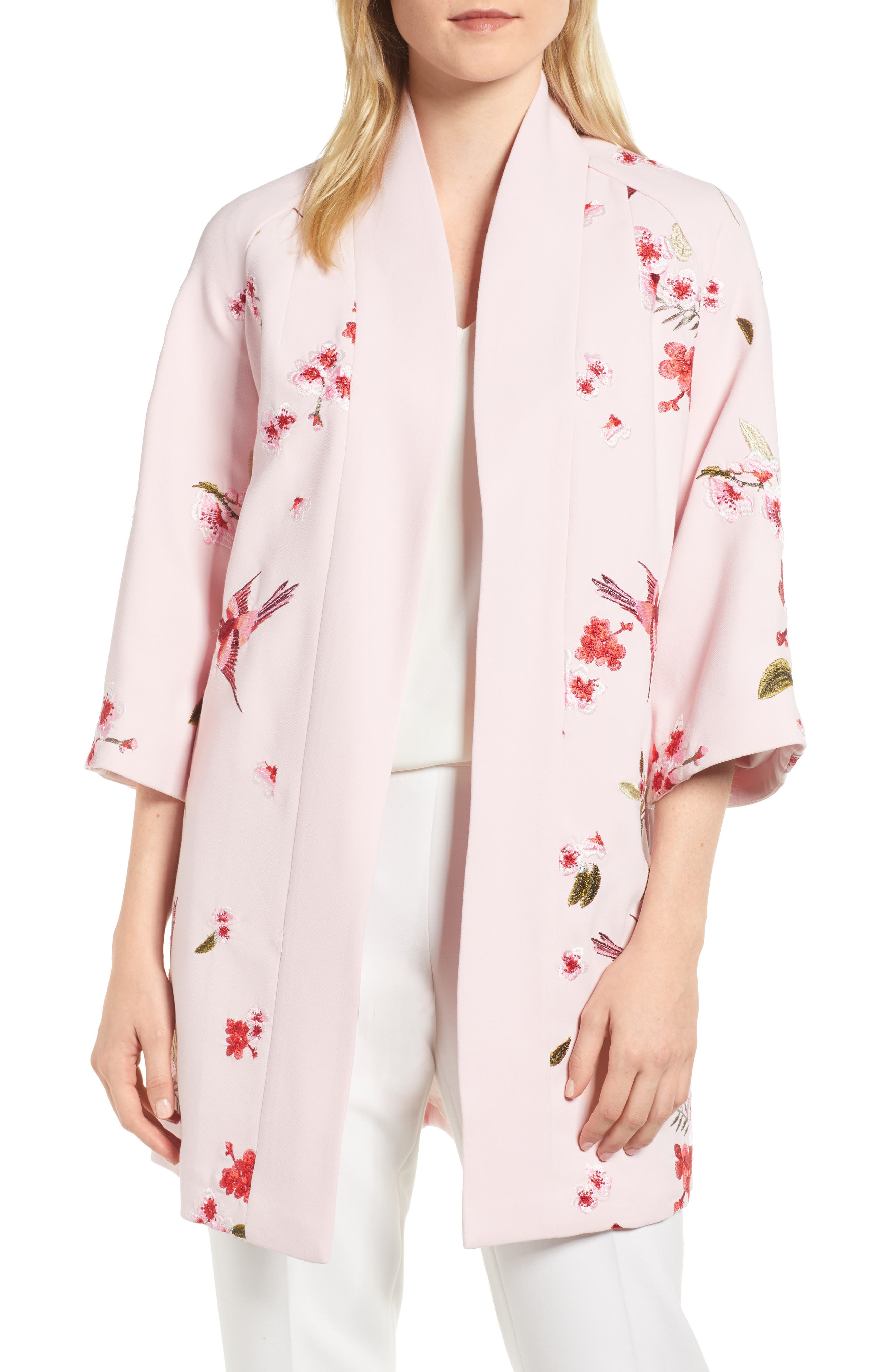 Bird & Blossom Spring Kimono,                             Main thumbnail 1, color,                             Baby Pink