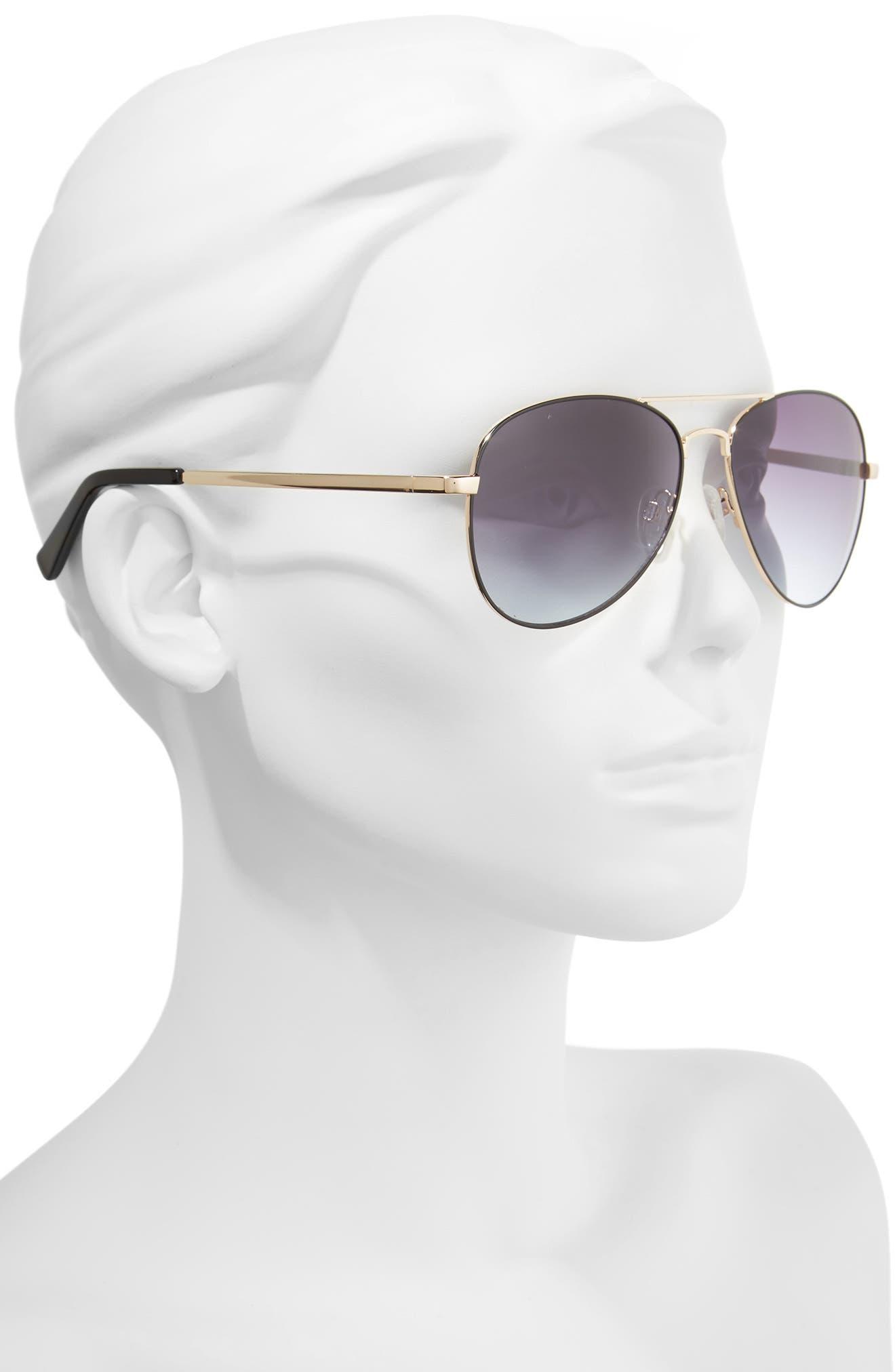 Alibi 59mm Metal Aviator Sunglasses,                             Alternate thumbnail 2, color,                             Gold- Black Epoxy
