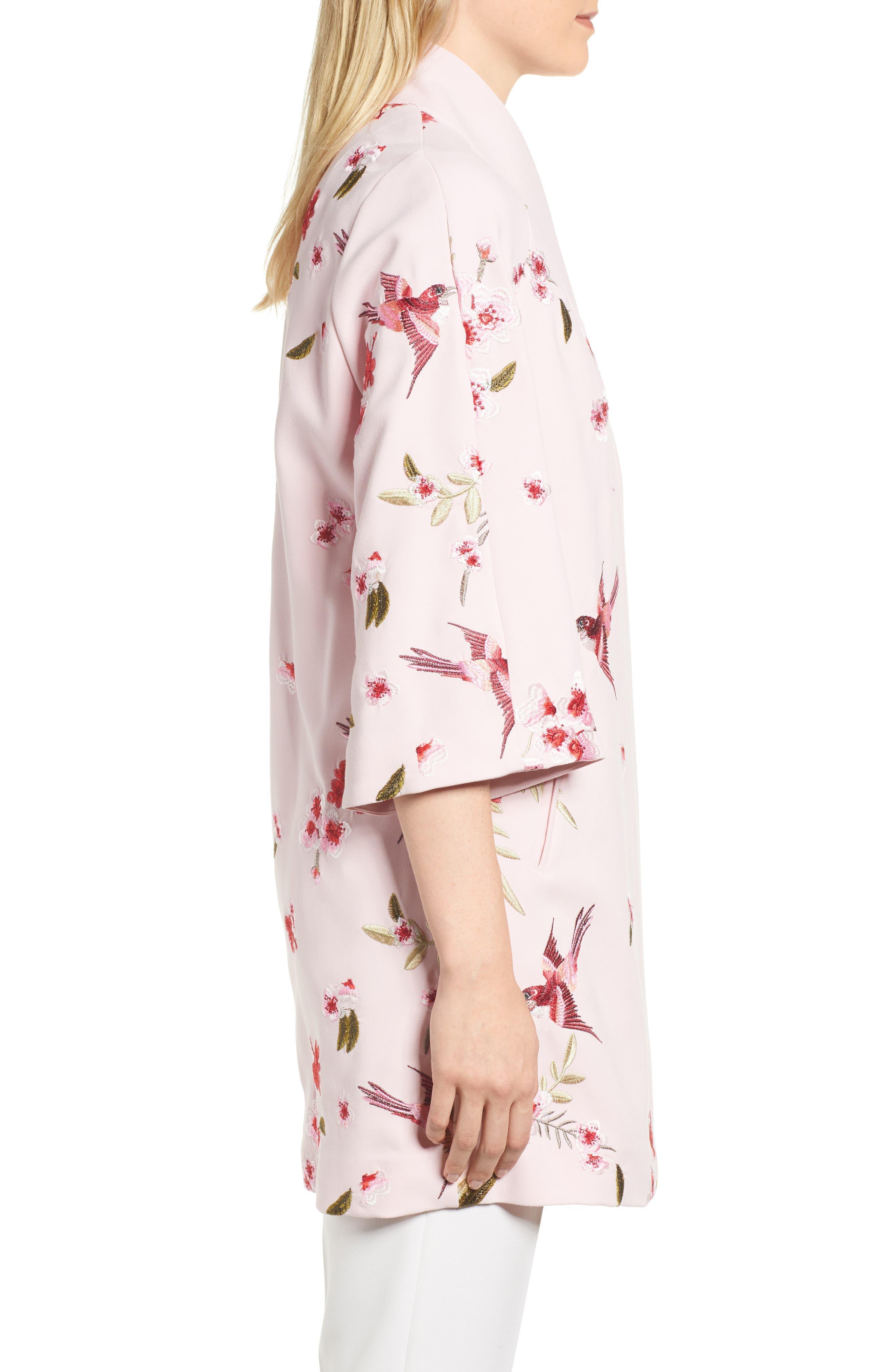 Bird & Blossom Spring Kimono,                             Alternate thumbnail 3, color,                             Baby Pink