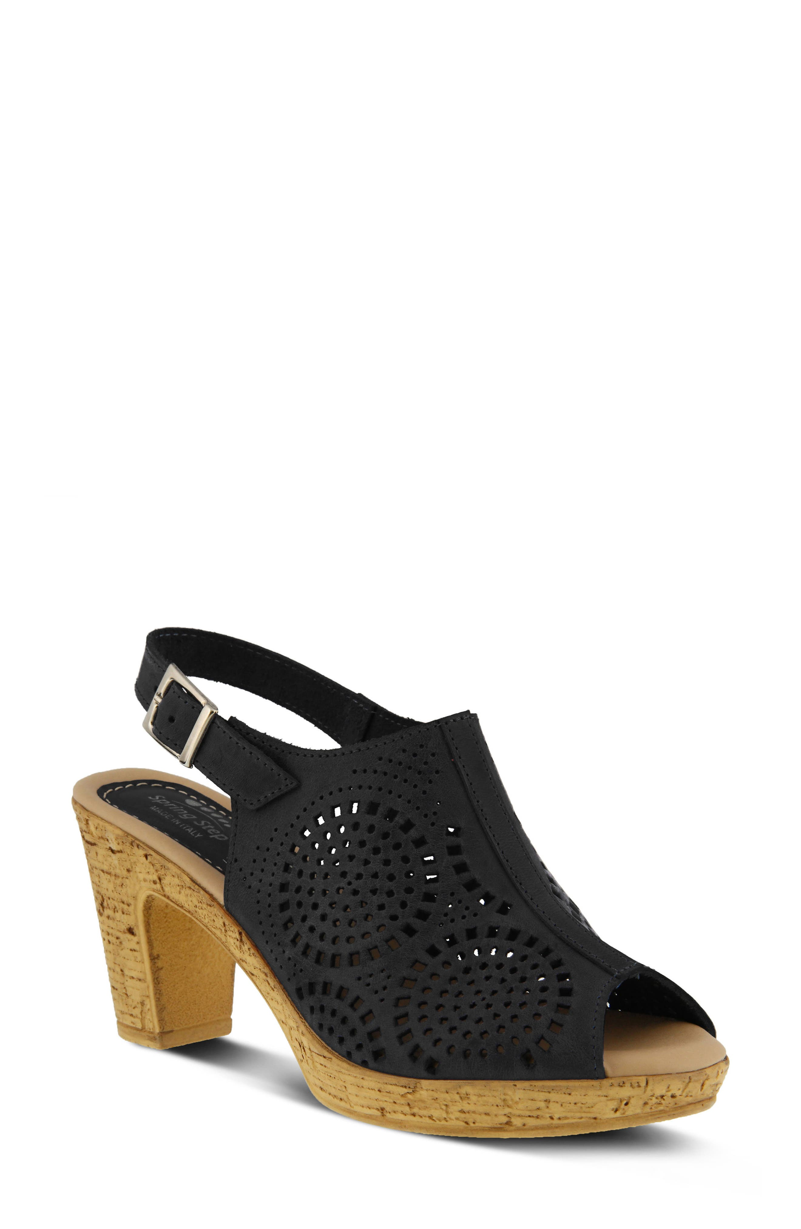 Liberty Platform Sandal,                         Main,                         color, Black Leather