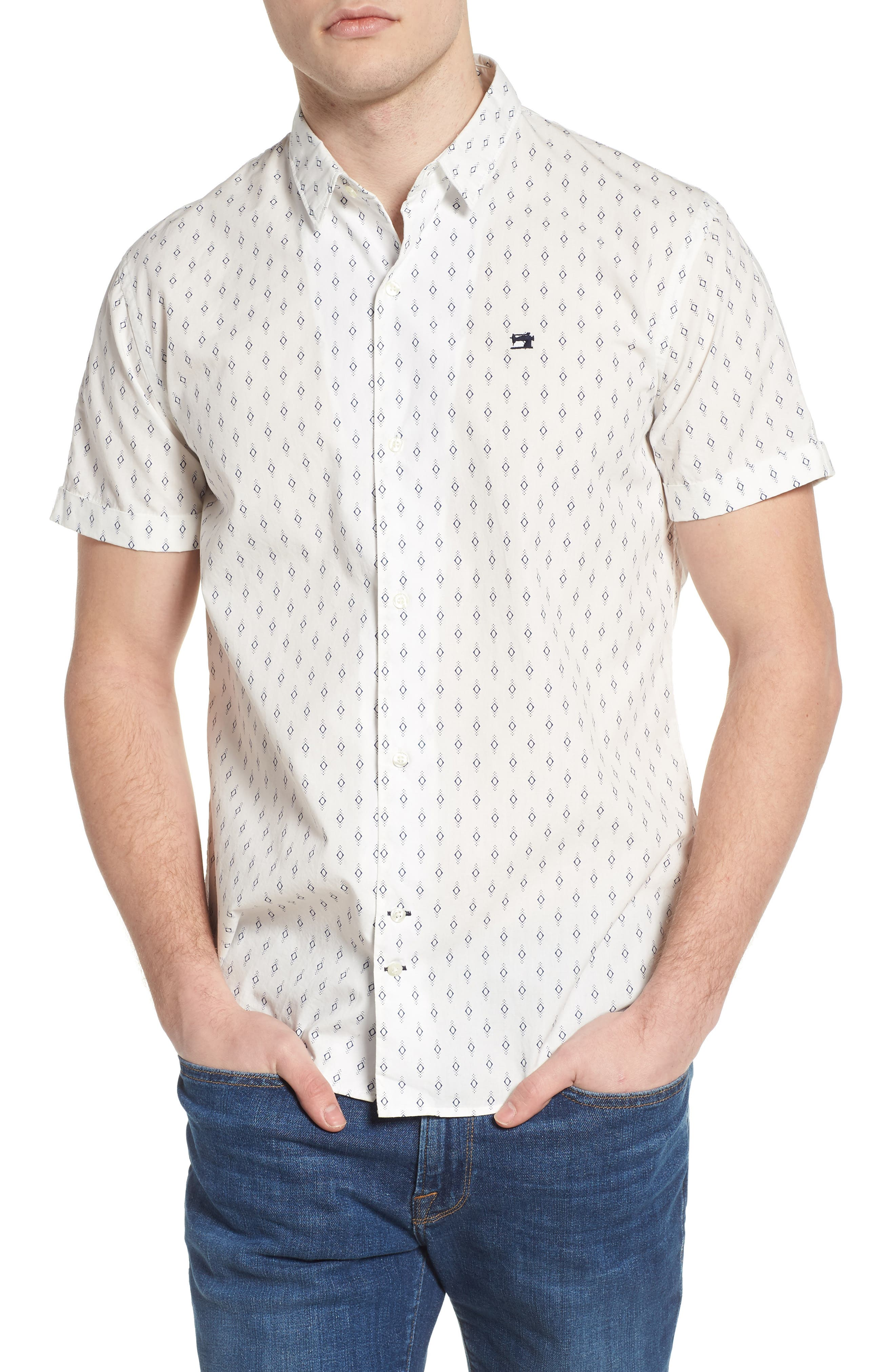 Classic Fit Print Woven Shirt,                             Main thumbnail 1, color,                             Combo B