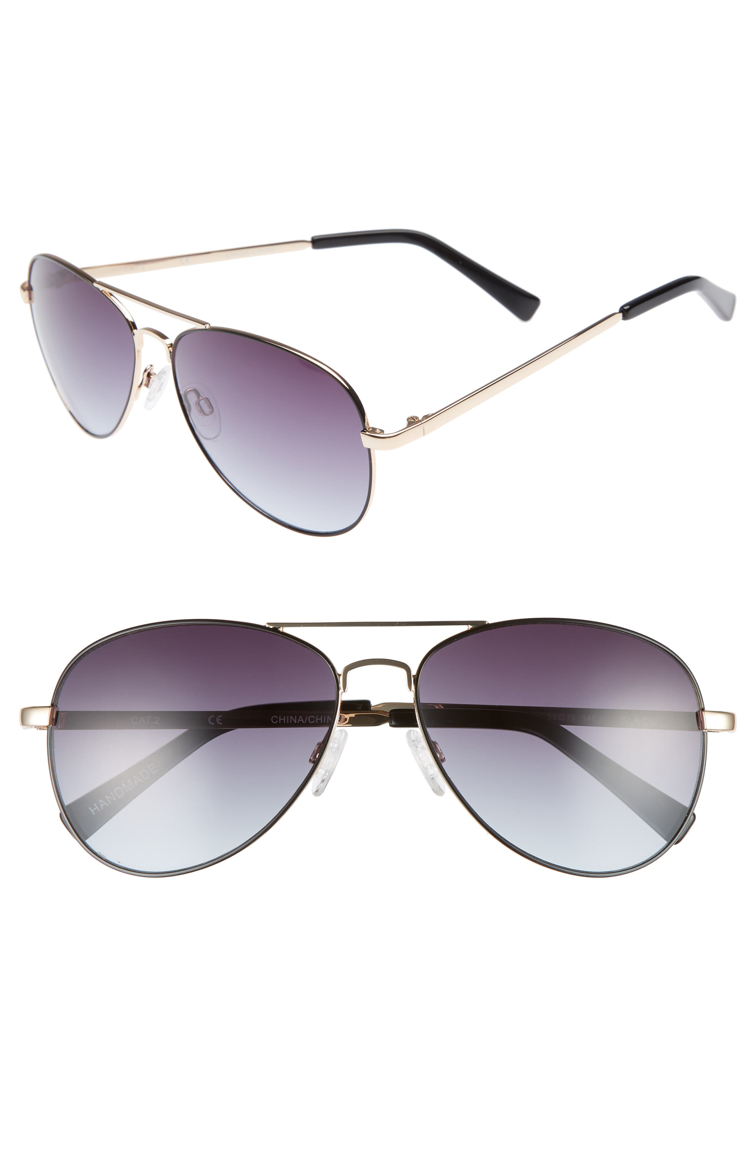 Alibi 59mm Metal Aviator Sunglasses,                         Main,                         color, Gold- Black Epoxy