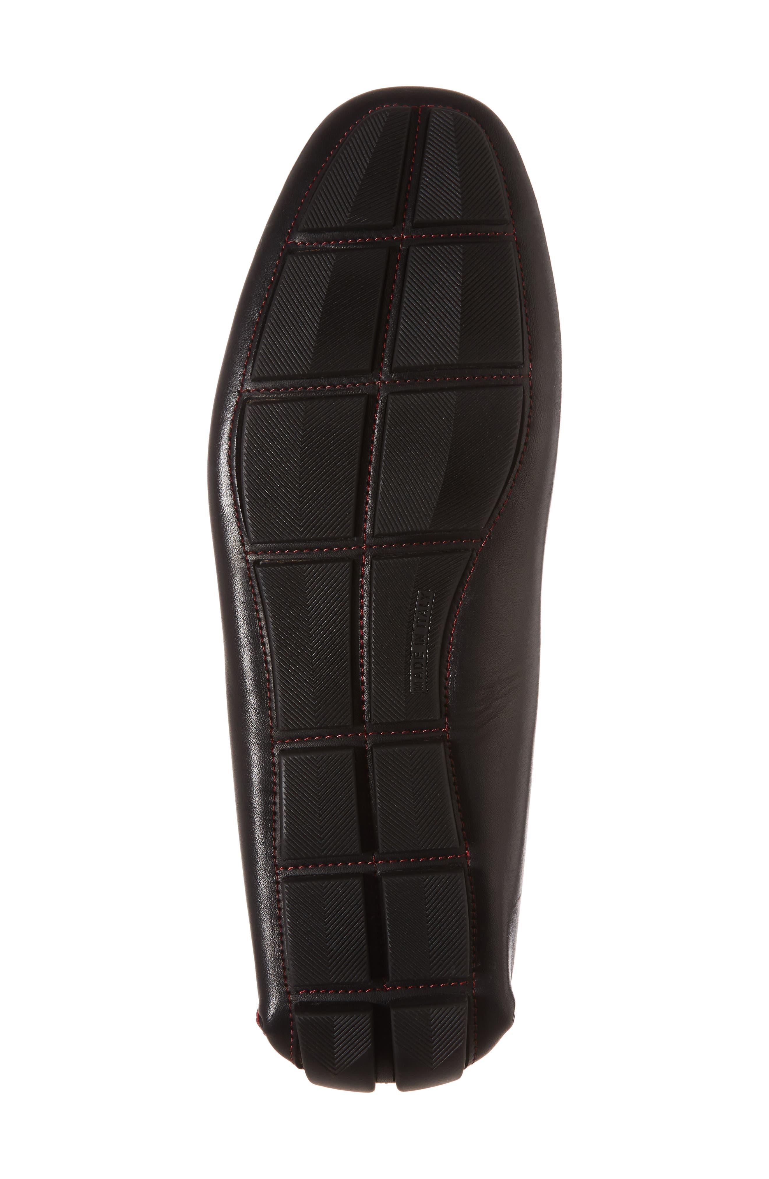 Owen Croc Embossed Driver,                             Alternate thumbnail 6, color,                             Black Leather