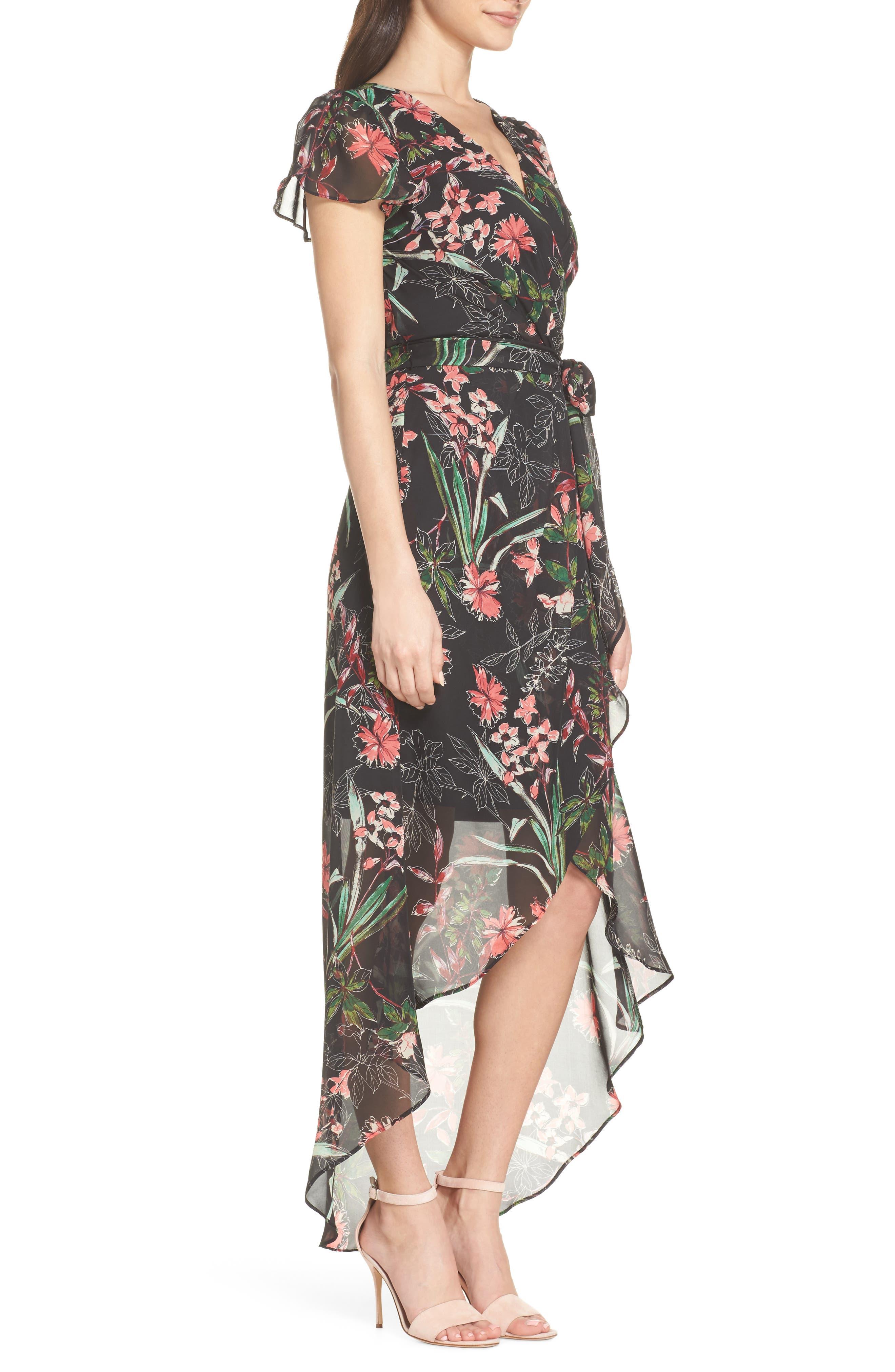 Chiffon Faux Wrap Dress,                             Alternate thumbnail 3, color,                             Black Multi