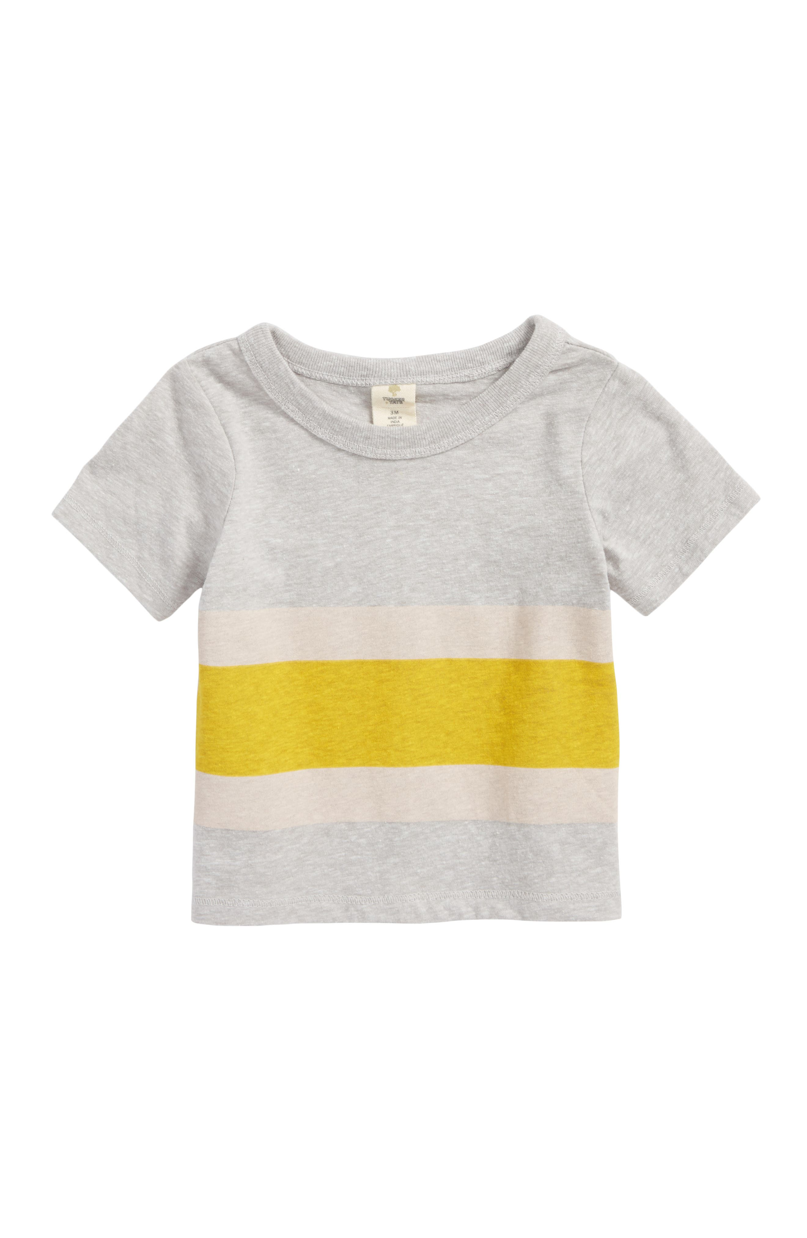 Stripe T-Shirt,                             Main thumbnail 1, color,                             Grey Medium Heather- Yellow
