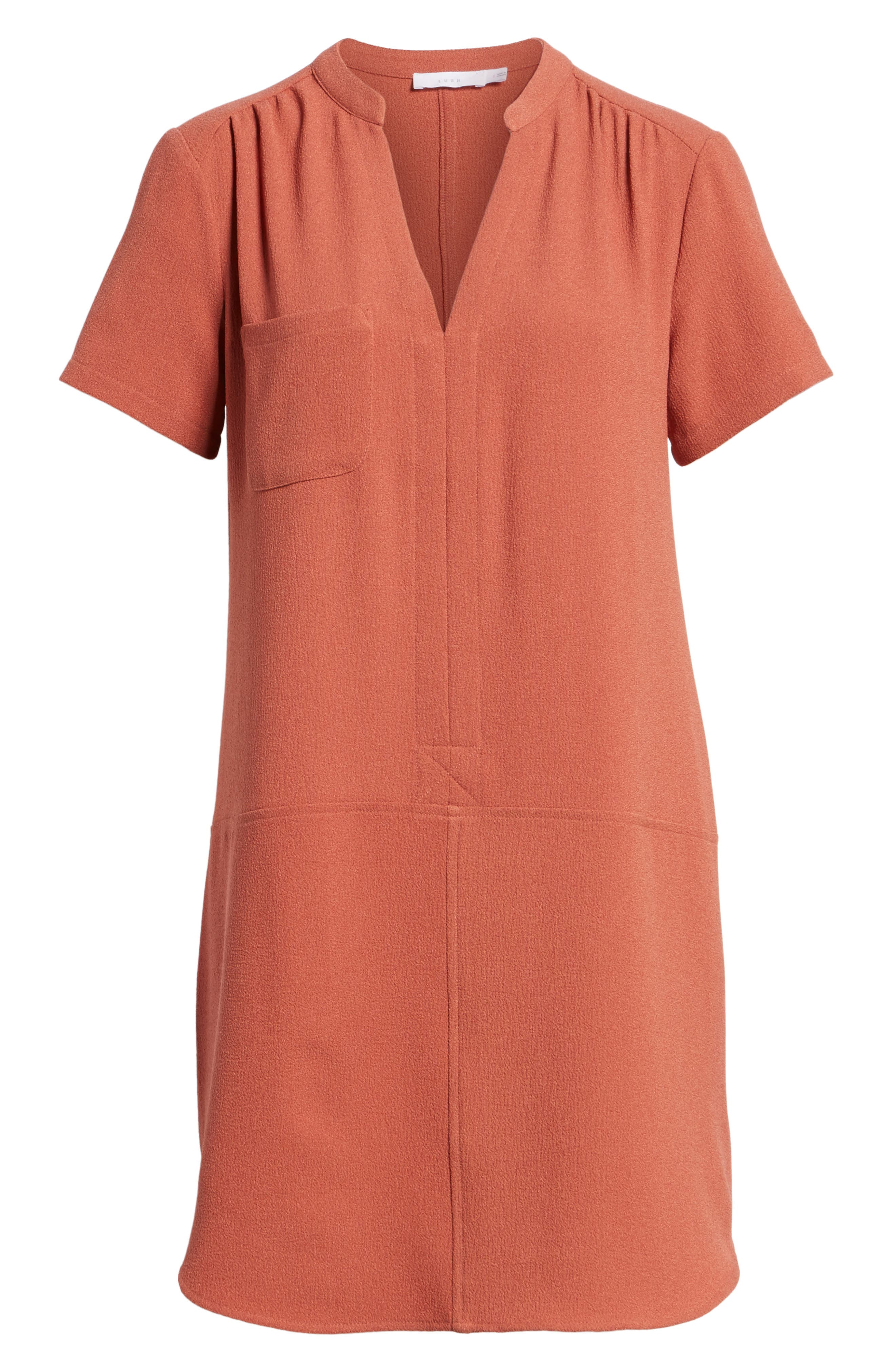 Hailey Crepe Dress,                             Alternate thumbnail 4, color,                             Rust Marsala