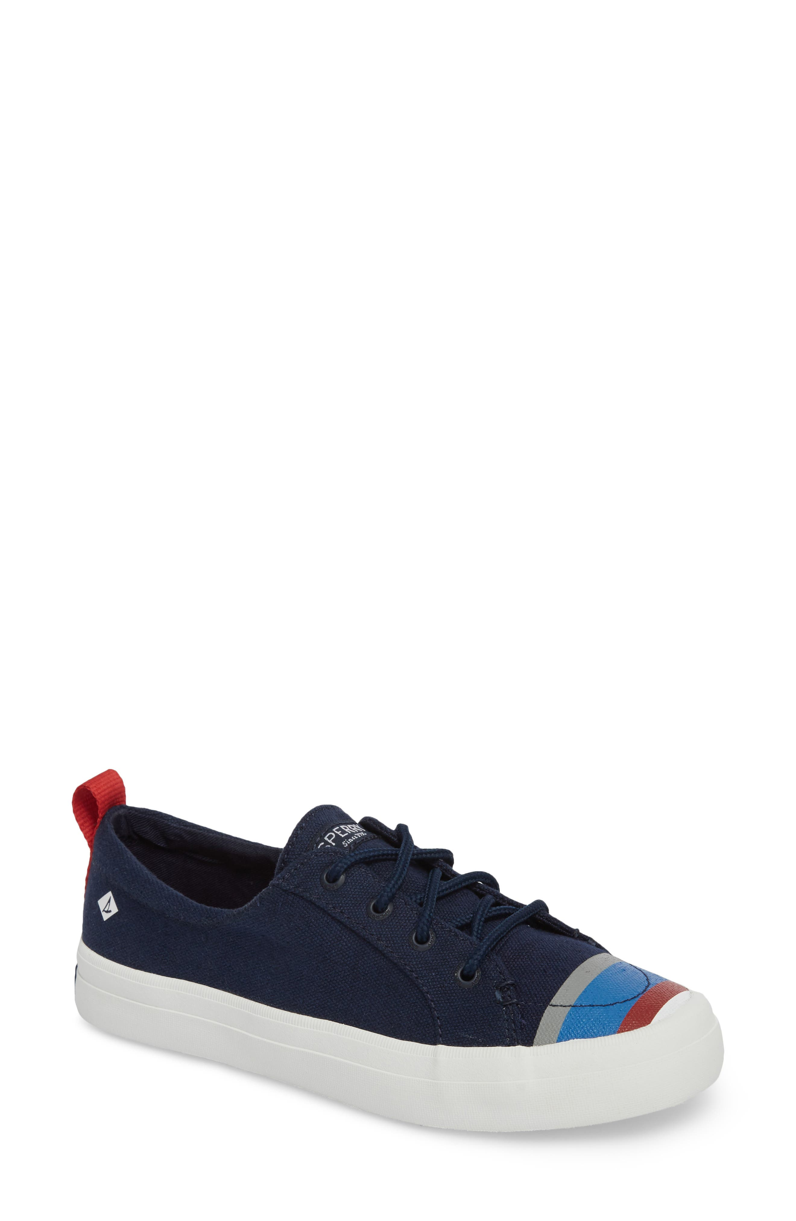 Crest Vibe Slip-On Sneaker,                             Main thumbnail 1, color,                             Navy Buoy Stripe Canvas