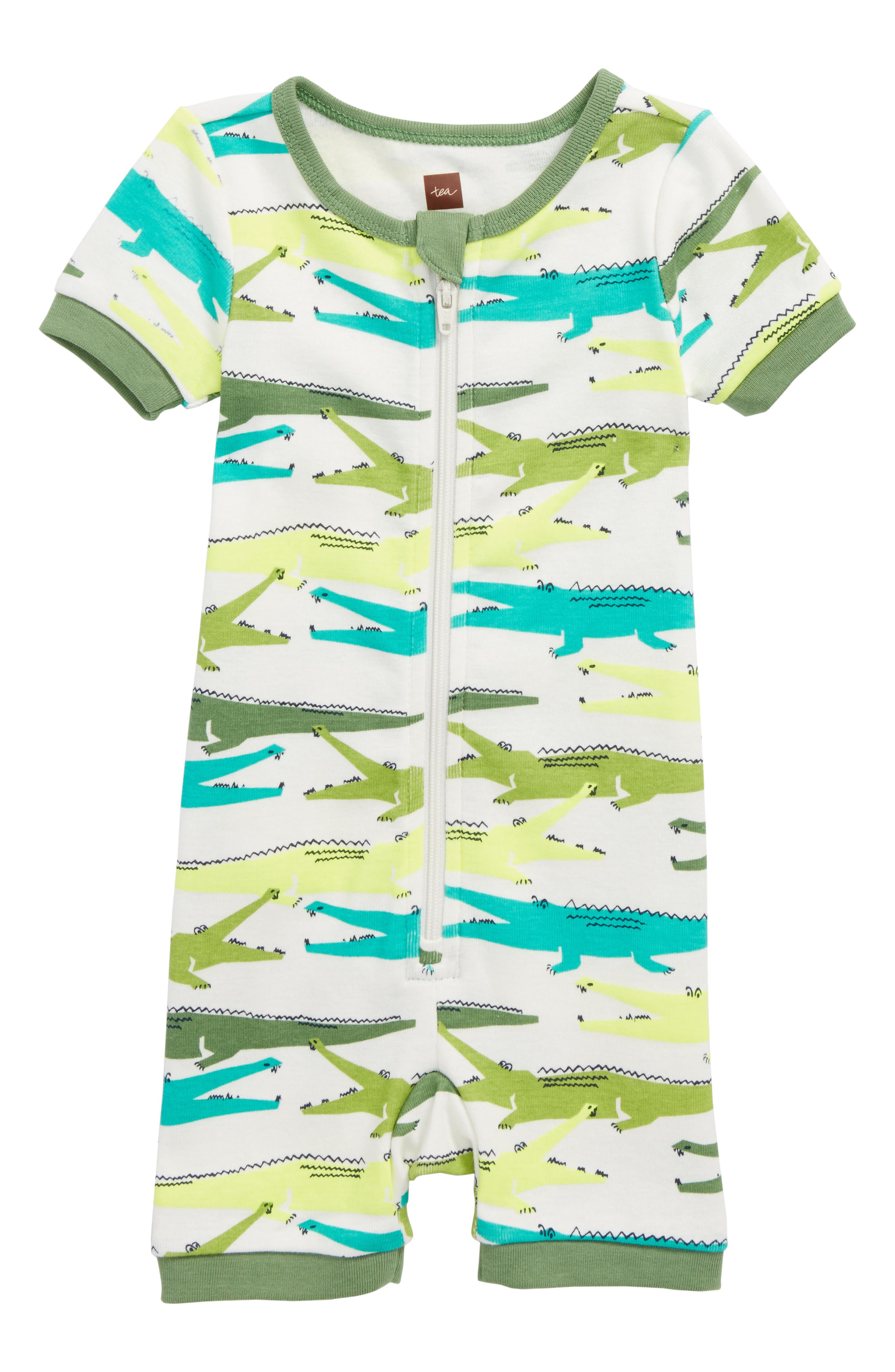 Main Image - Tea Collection Alligator Fitted One-Piece Pajamas (Baby Boys)
