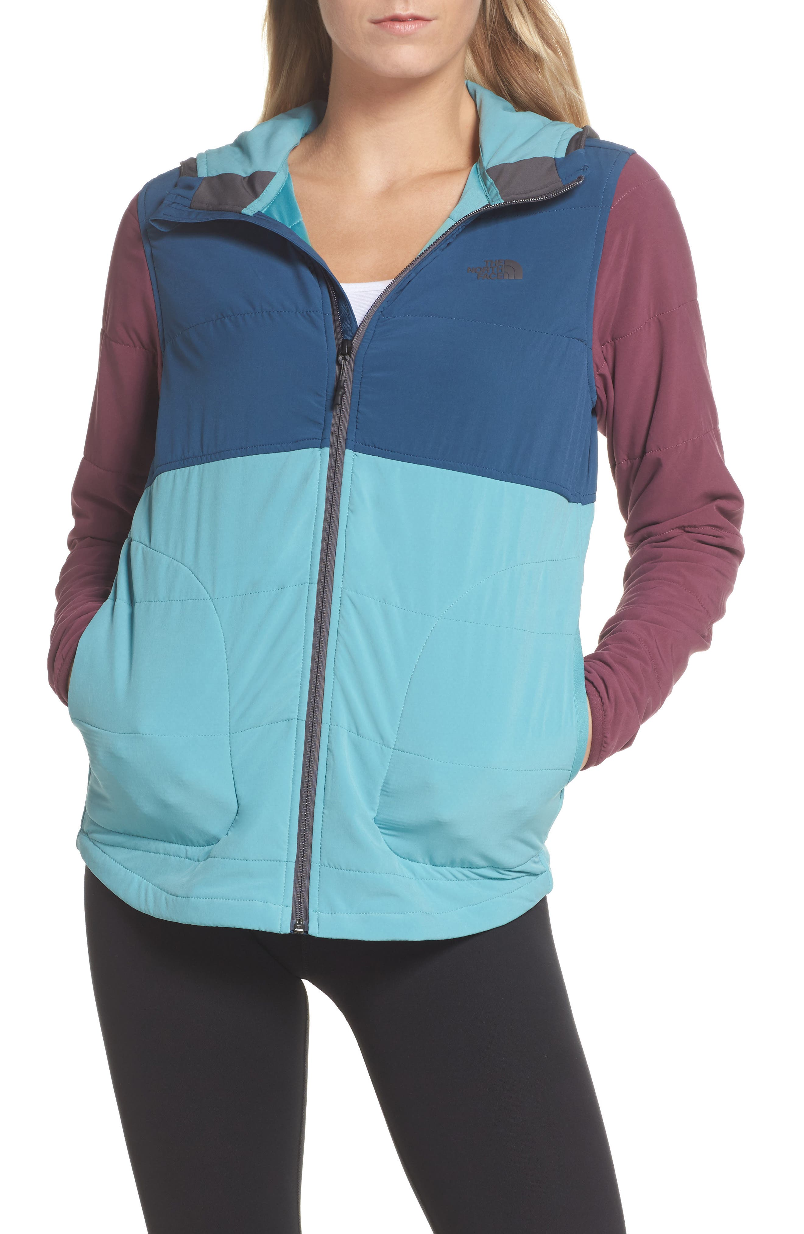 Mountain Sweatshirt Insulated Hooded Jacket,                         Main,                         color, Bristol Blue Multi