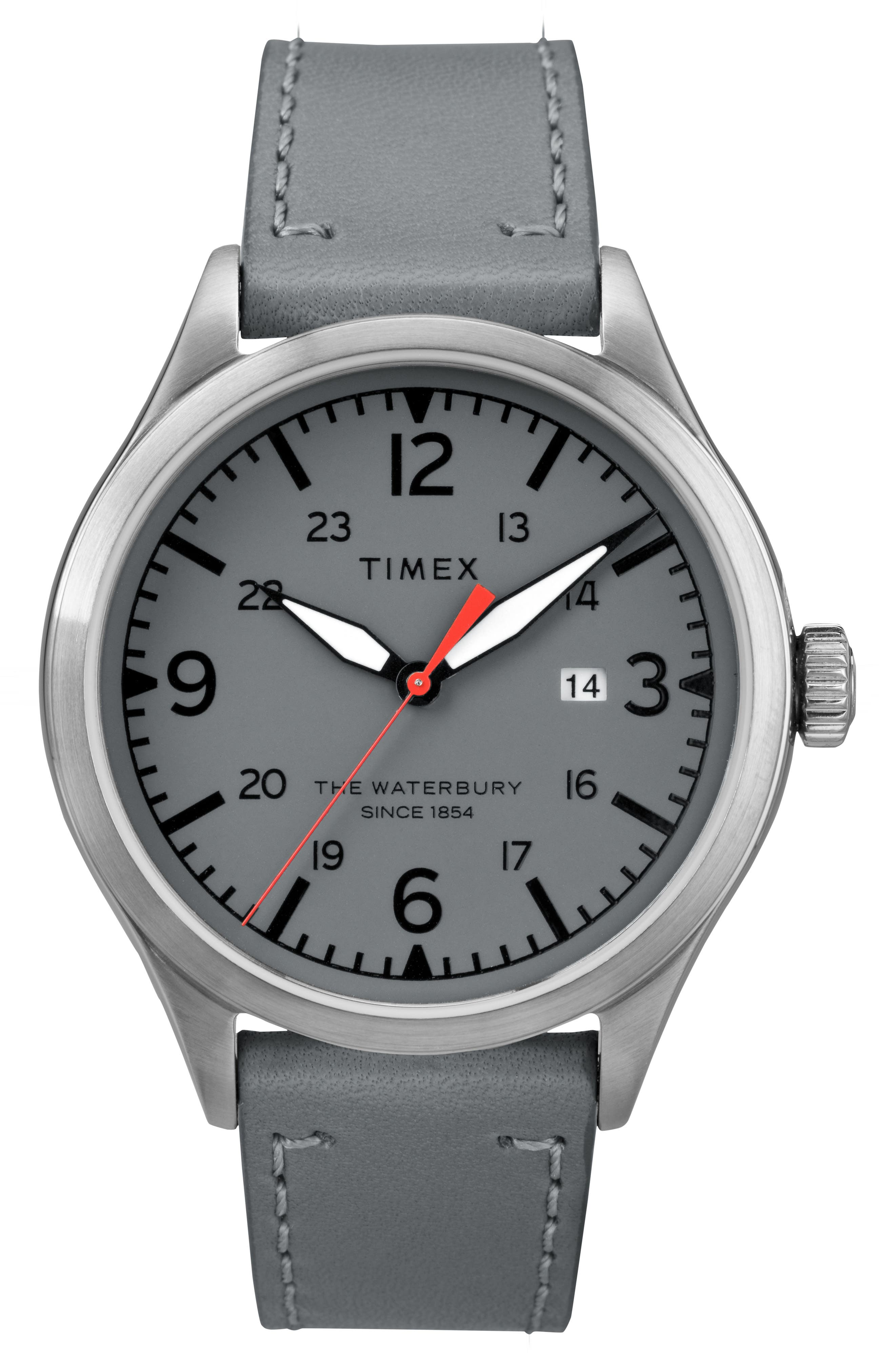 Timex Waterbury Leather Strap Watch, 40mm,                             Main thumbnail 1, color,                             Grey/ Silver