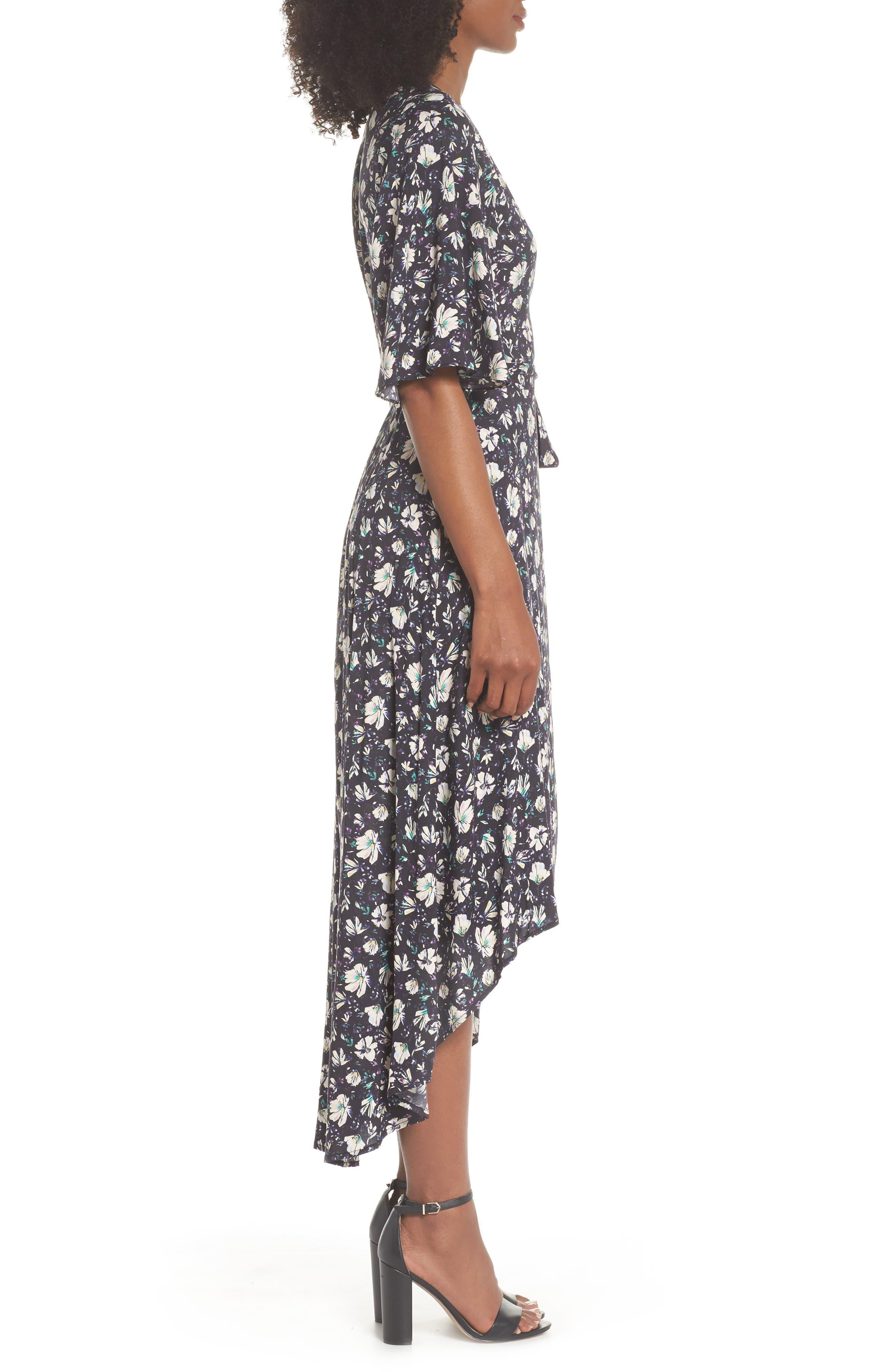Lonny Floral Wrap Dress,                             Alternate thumbnail 3, color,                             London Floral