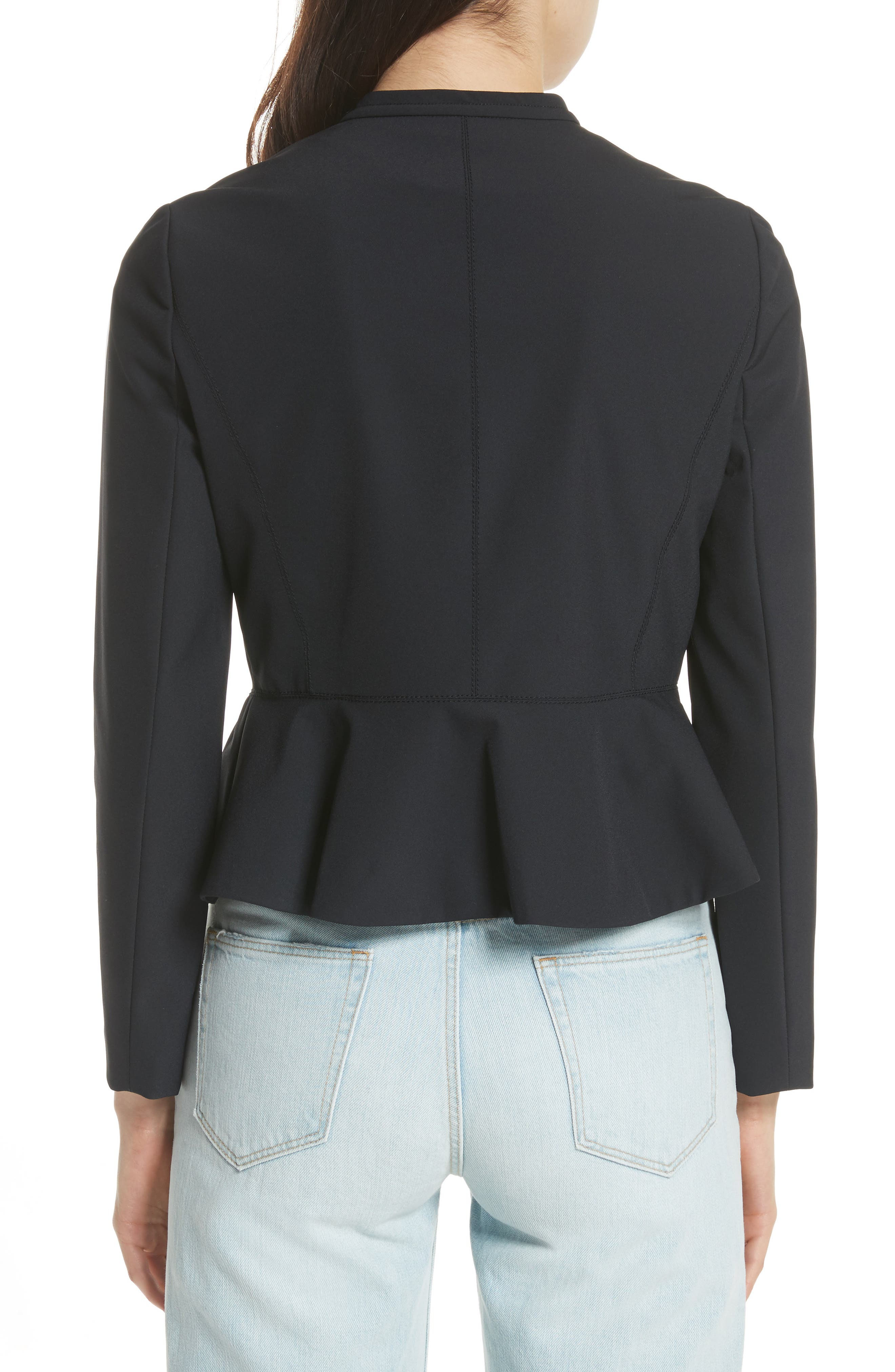 Ava Peplum Jacket,                             Alternate thumbnail 2, color,                             Black