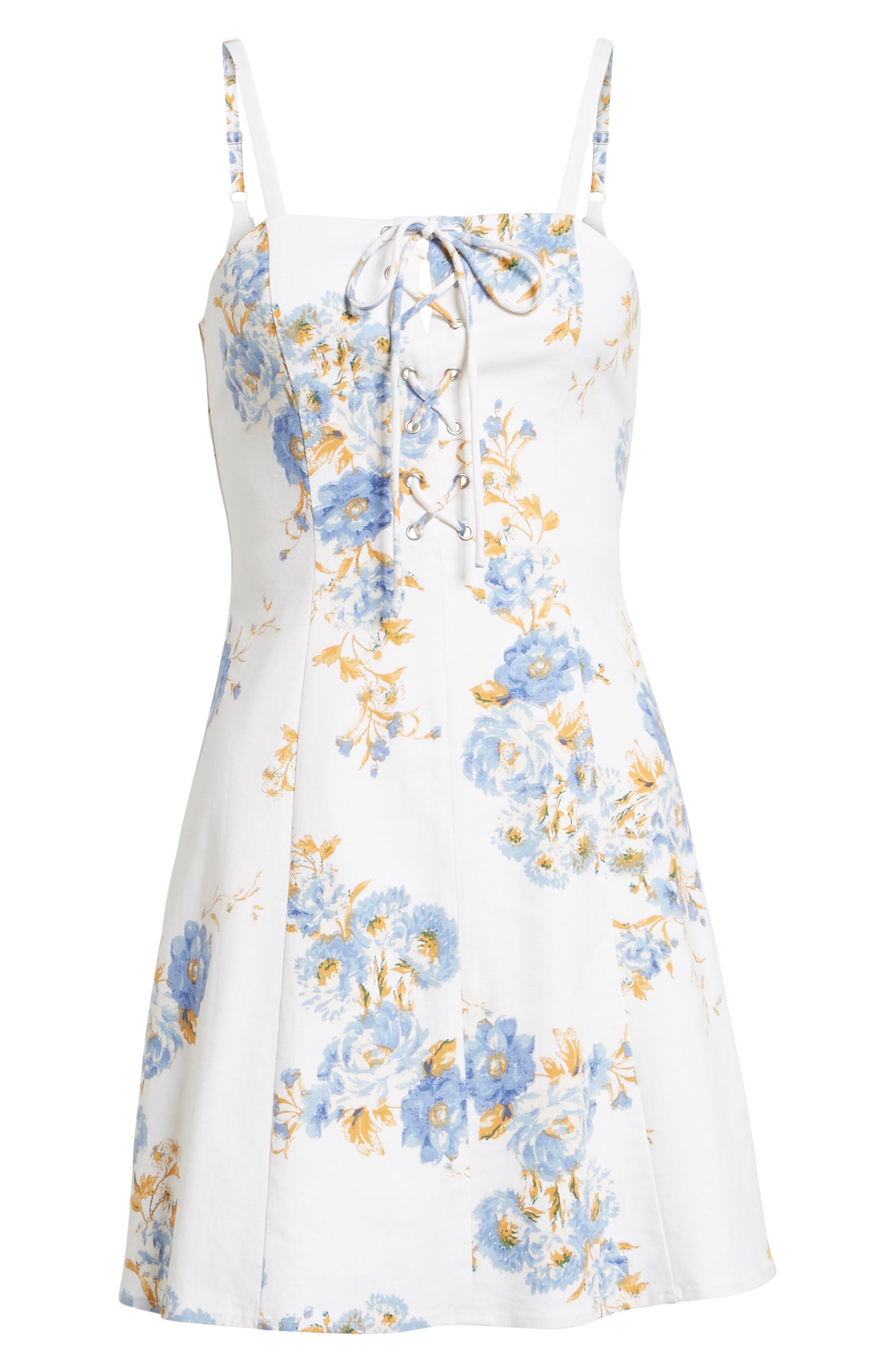 Modena Lace-Up Minidress,                             Alternate thumbnail 6, color,                             Ivory Floral