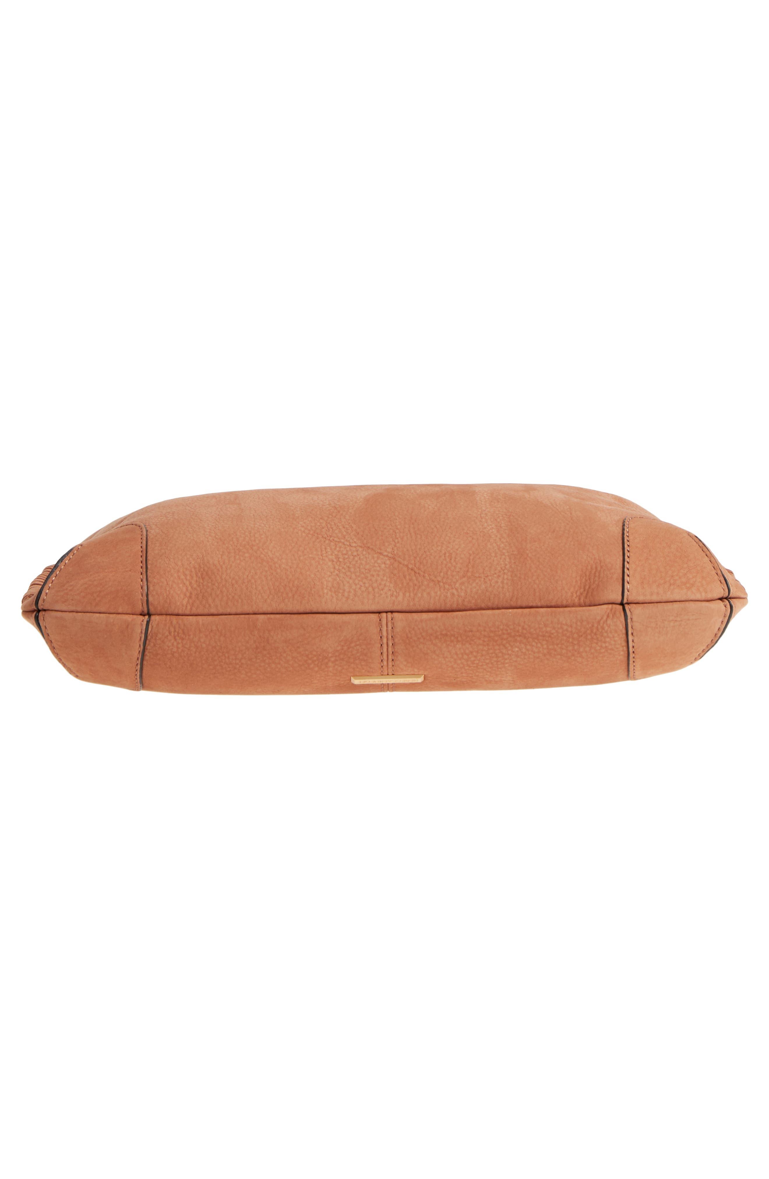 Slim Regan Leather Hobo,                             Alternate thumbnail 7, color,                             Almond