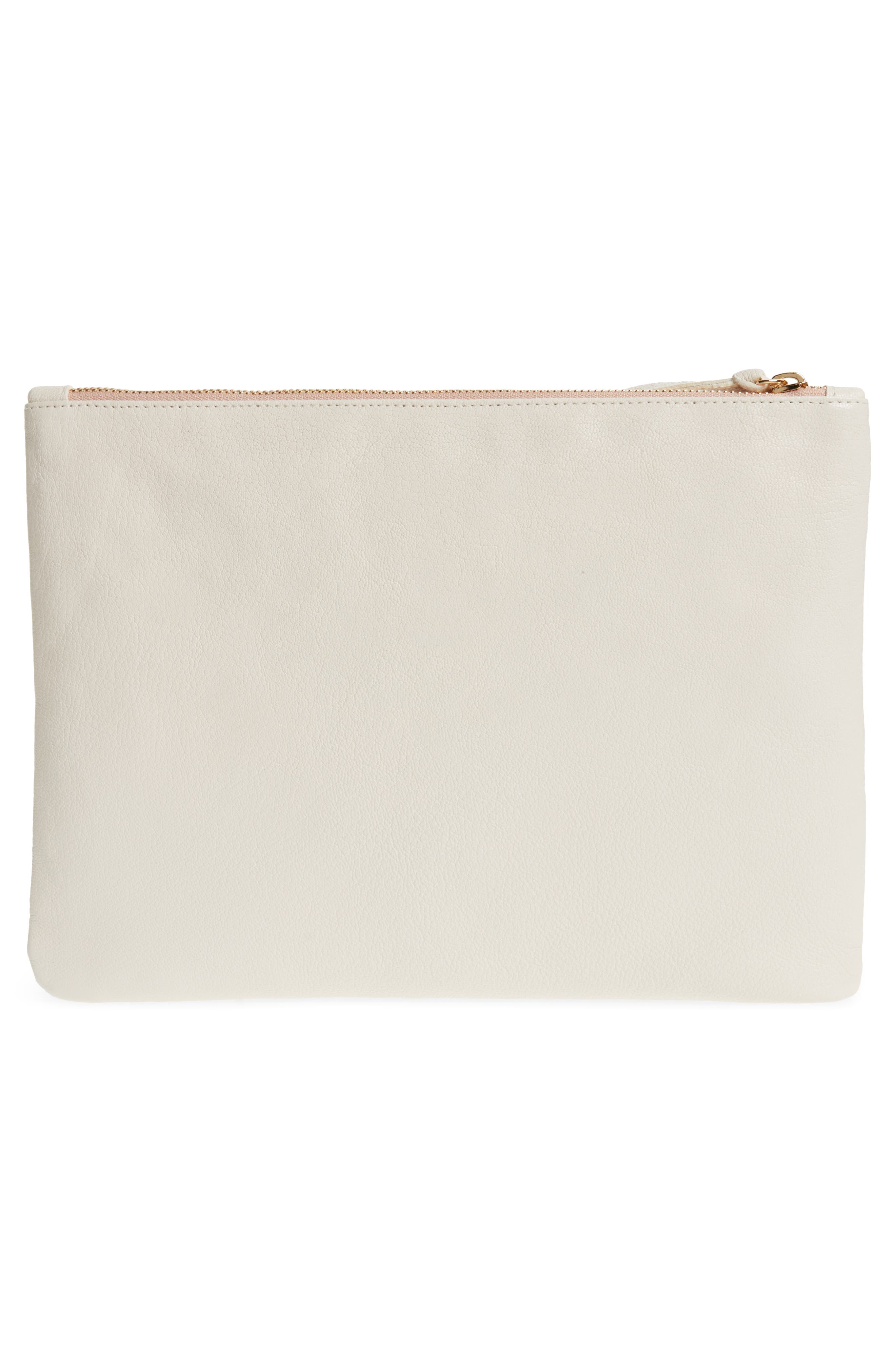Eyes Printed Nappa Leather Clutch,                             Alternate thumbnail 3, color,                             Beaded White With Black Eyes