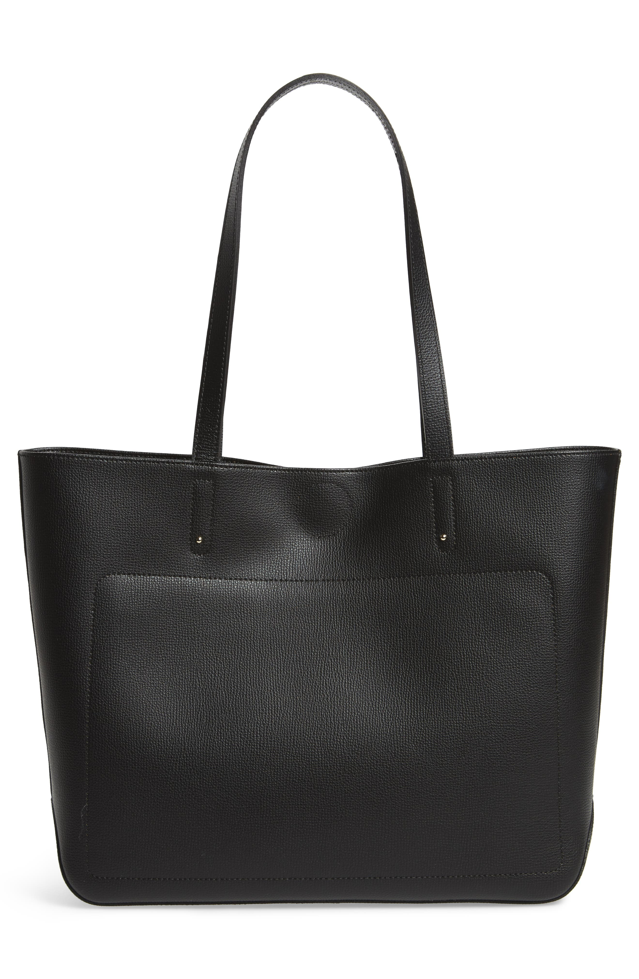 Medium Shop-It Leather Tote,                             Alternate thumbnail 3, color,                             Black
