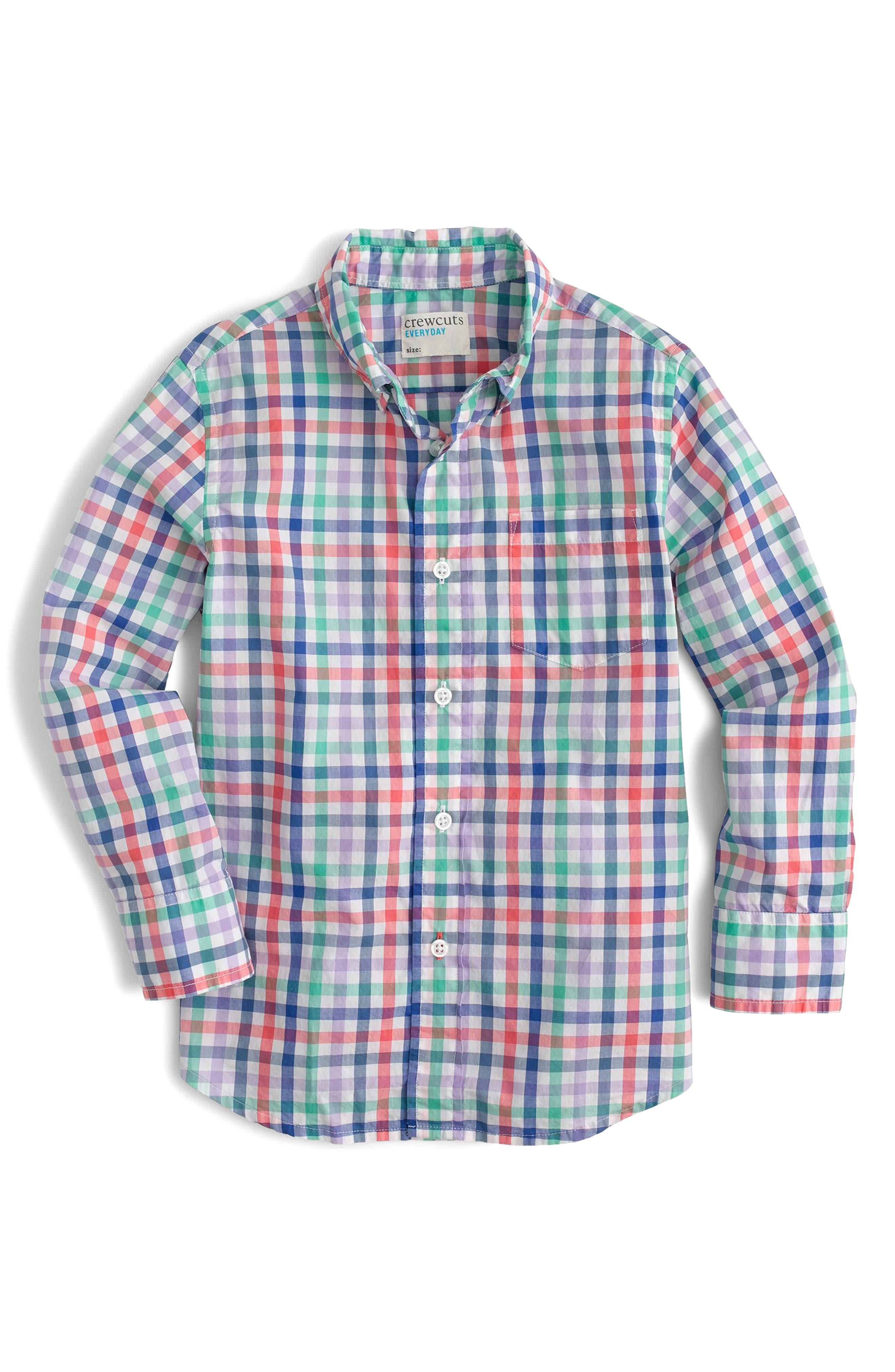 Secret Wash Plaid Shirt,                         Main,                         color, Venetian Sea