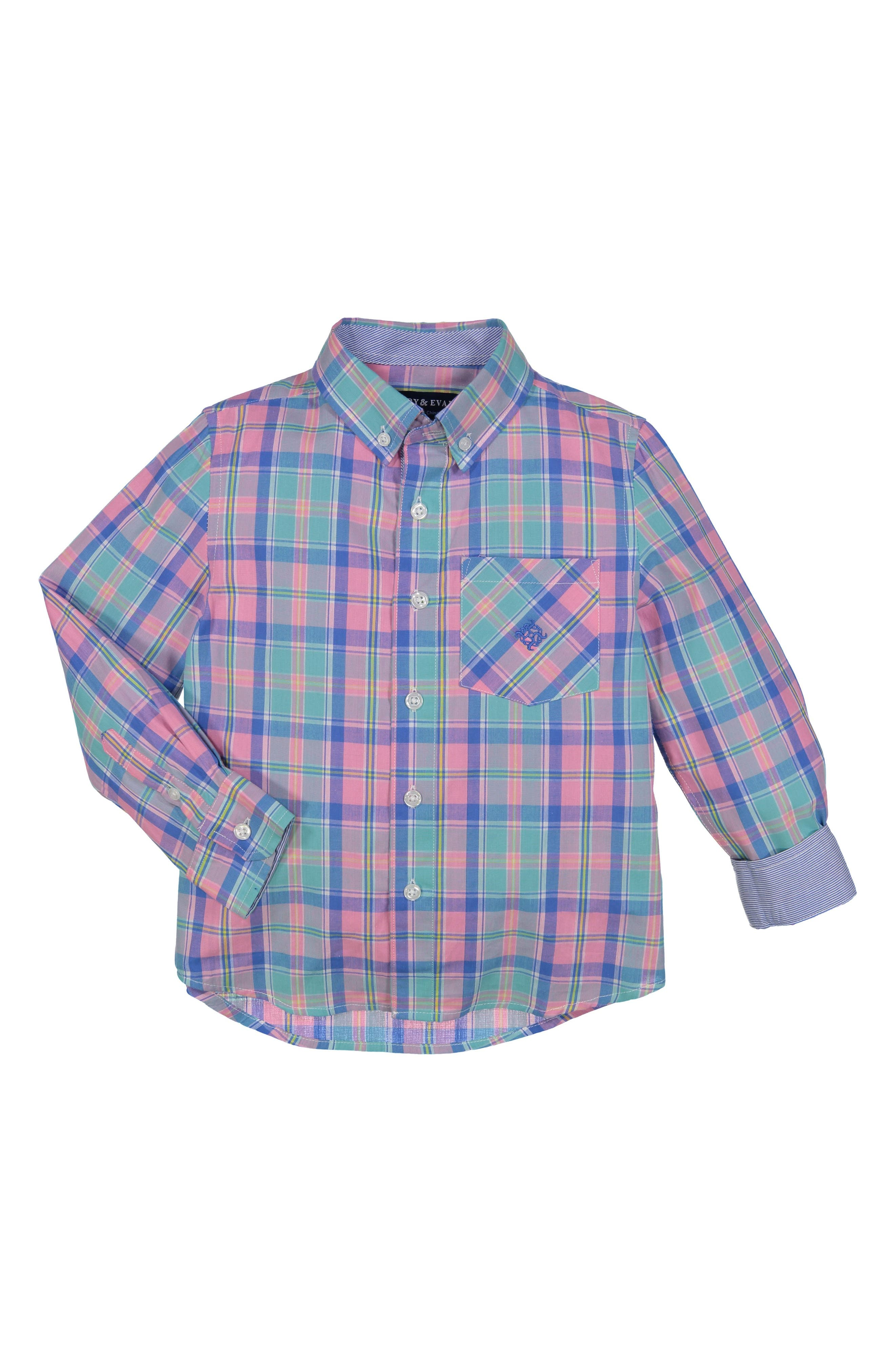 Easter Plaid Woven Shirt,                             Main thumbnail 1, color,                             Pink
