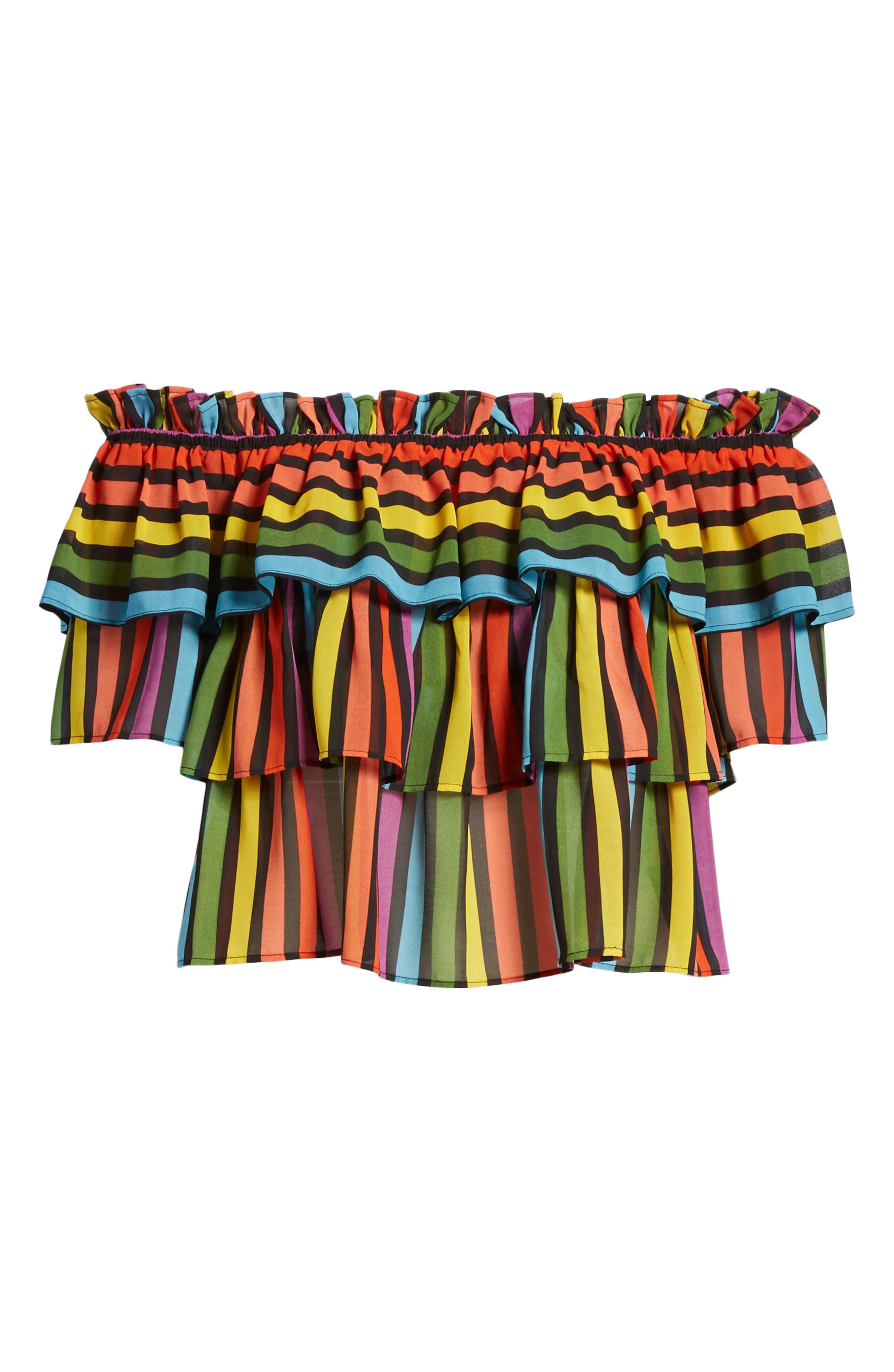 Toulon Tiered Ruffle Top,                             Alternate thumbnail 7, color,                             Rainbow Stripe