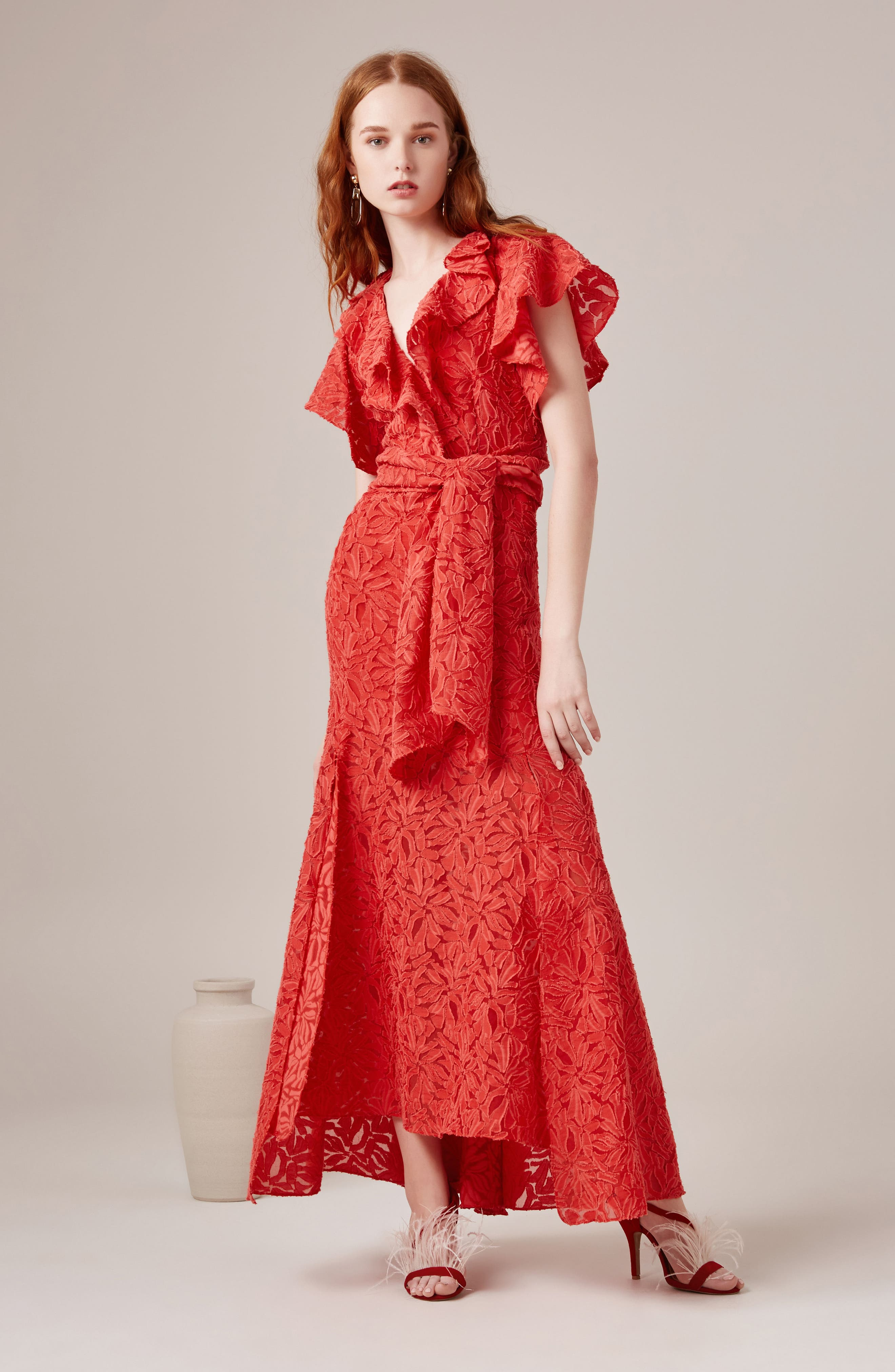 More To Give Ruffle Lace Gown,                             Alternate thumbnail 2, color,                             Melon