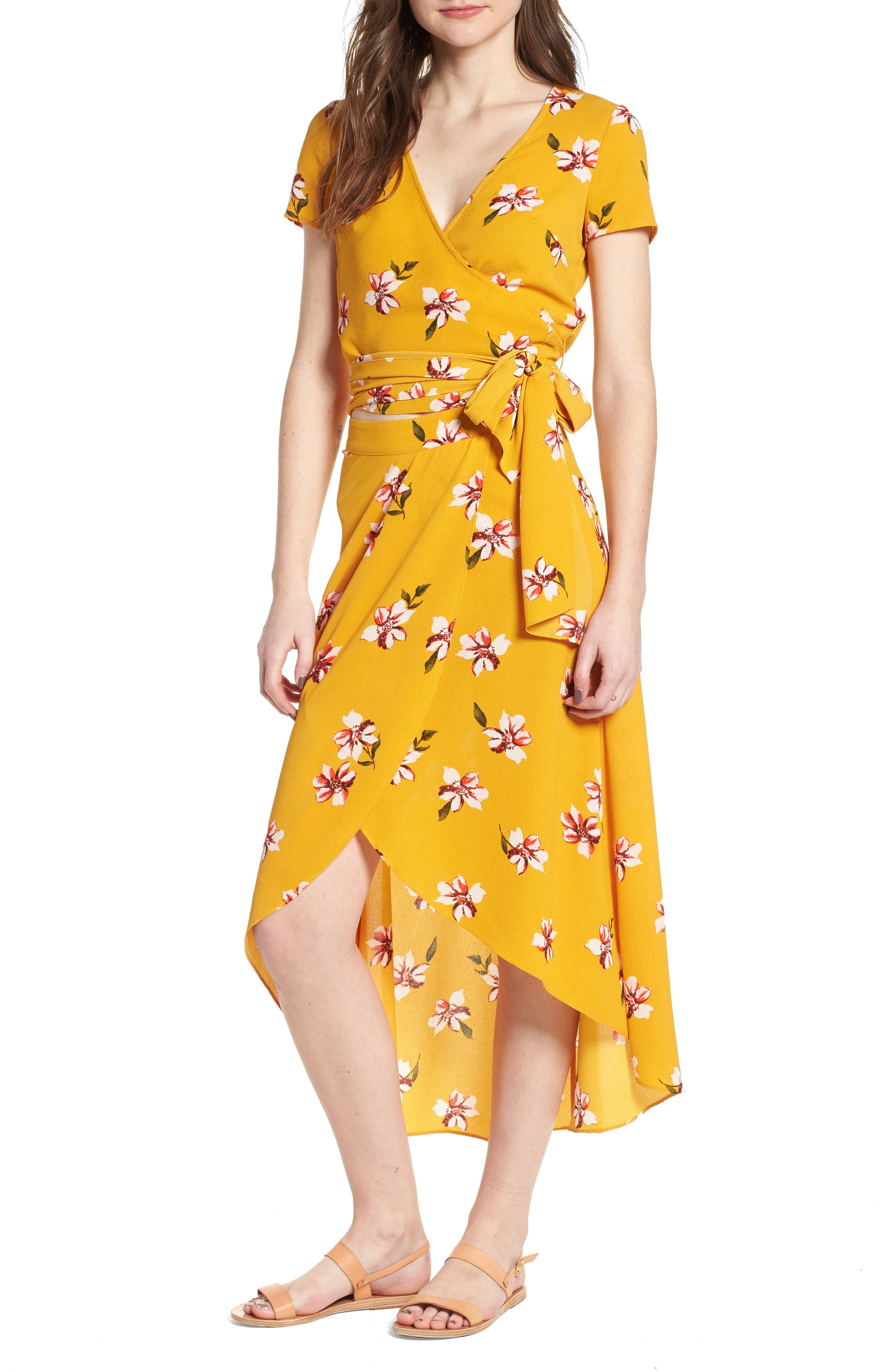 Floral Surplice Skirt,                             Alternate thumbnail 2, color,                             Mustard Floral