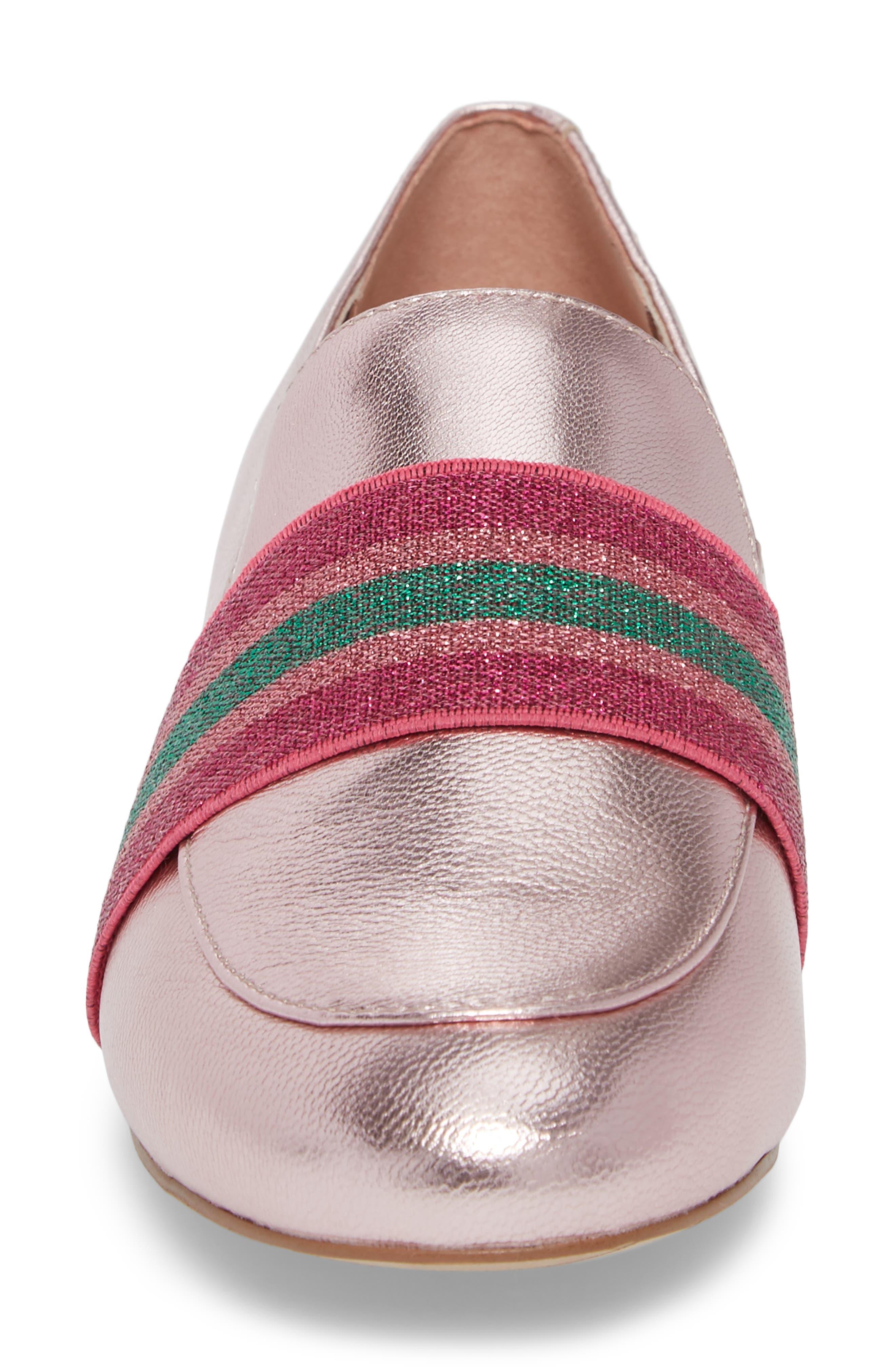 Walden Loafer,                             Alternate thumbnail 4, color,                             Pink Metallic Leather