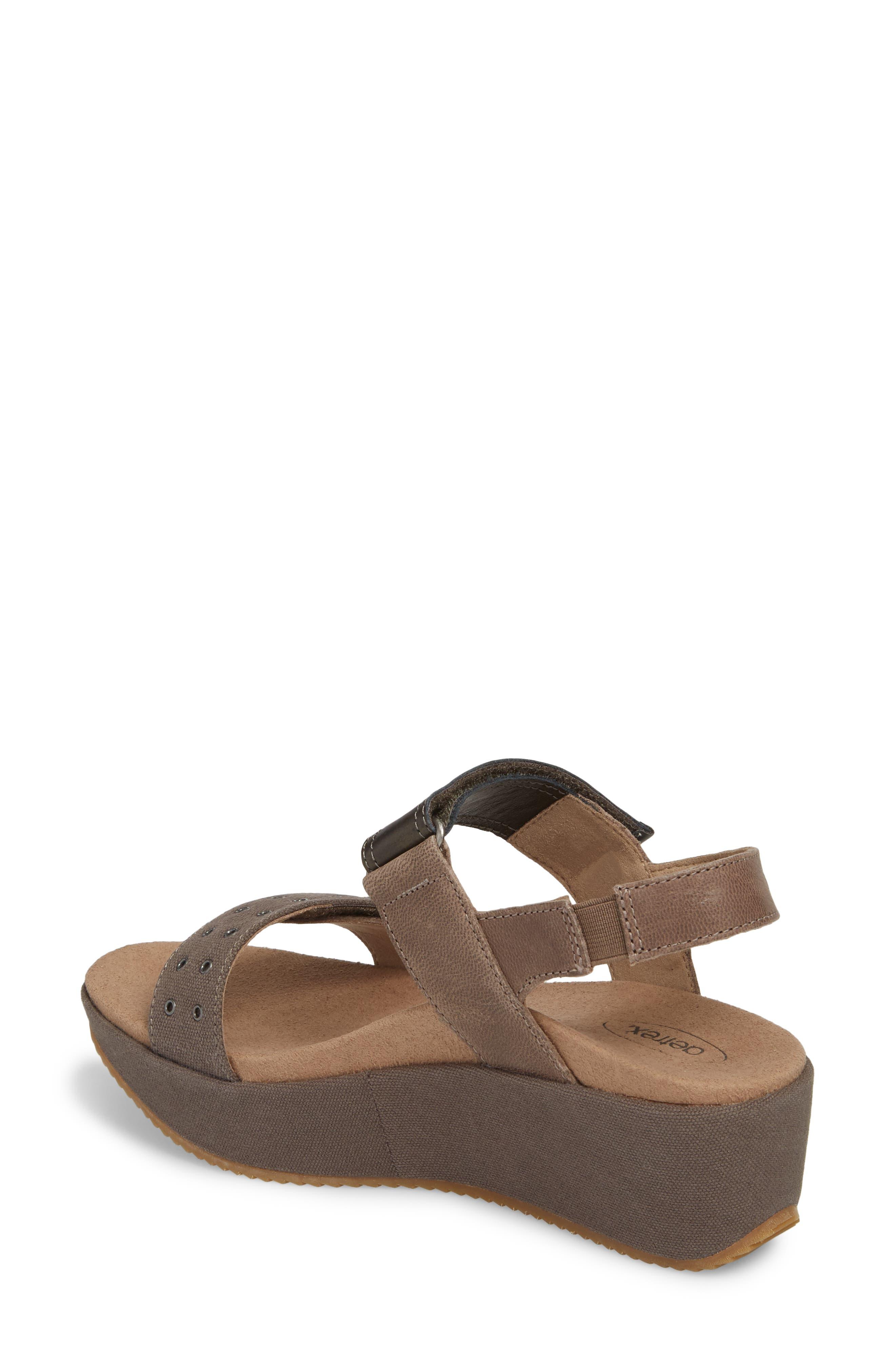 Tiffany Wedge Sandal,                             Alternate thumbnail 2, color,                             Stone Leather