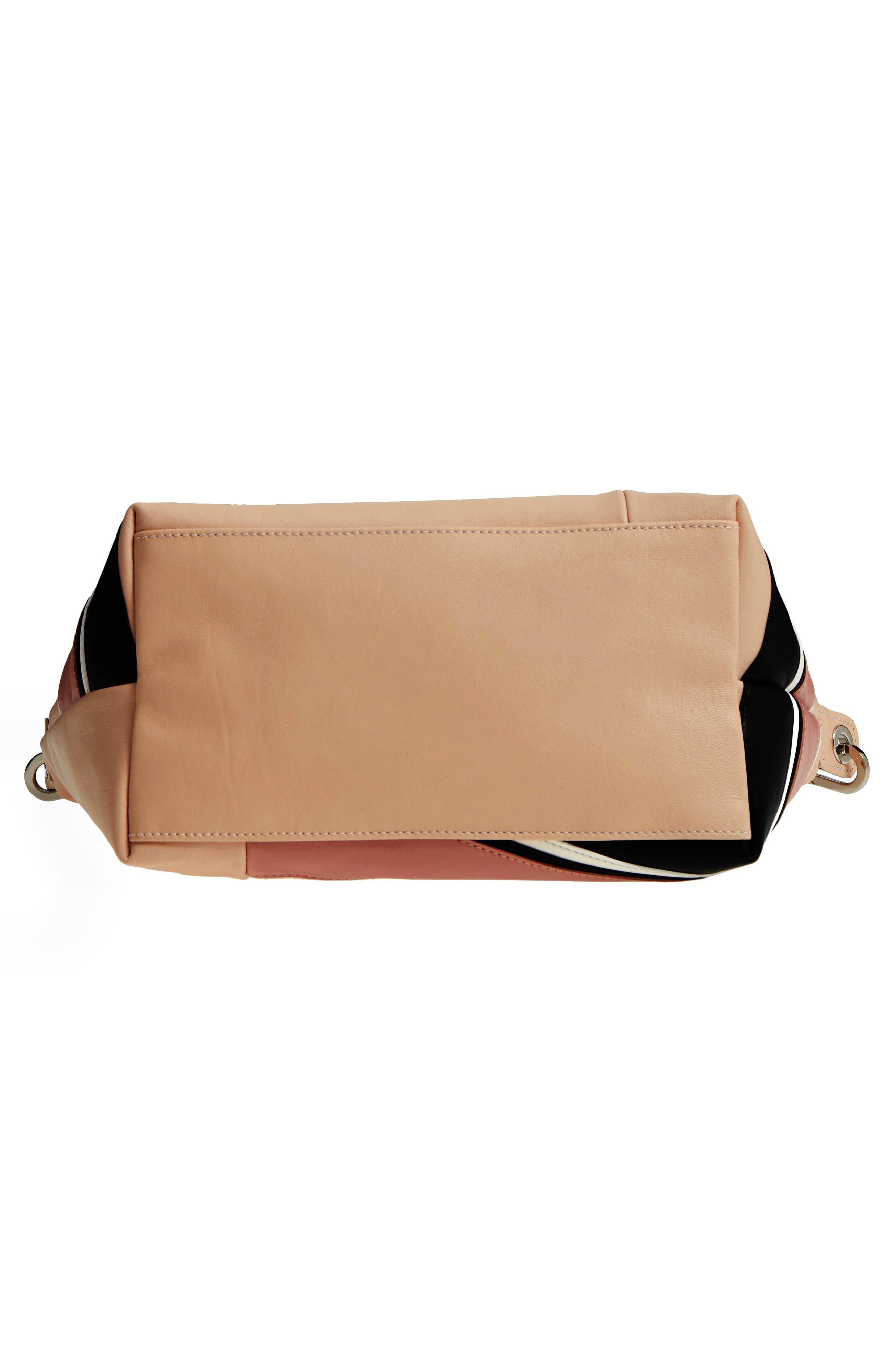Small Le Pliage Cuir - Chevron Leather Top Handle Tote,                             Alternate thumbnail 6, color,                             Petal