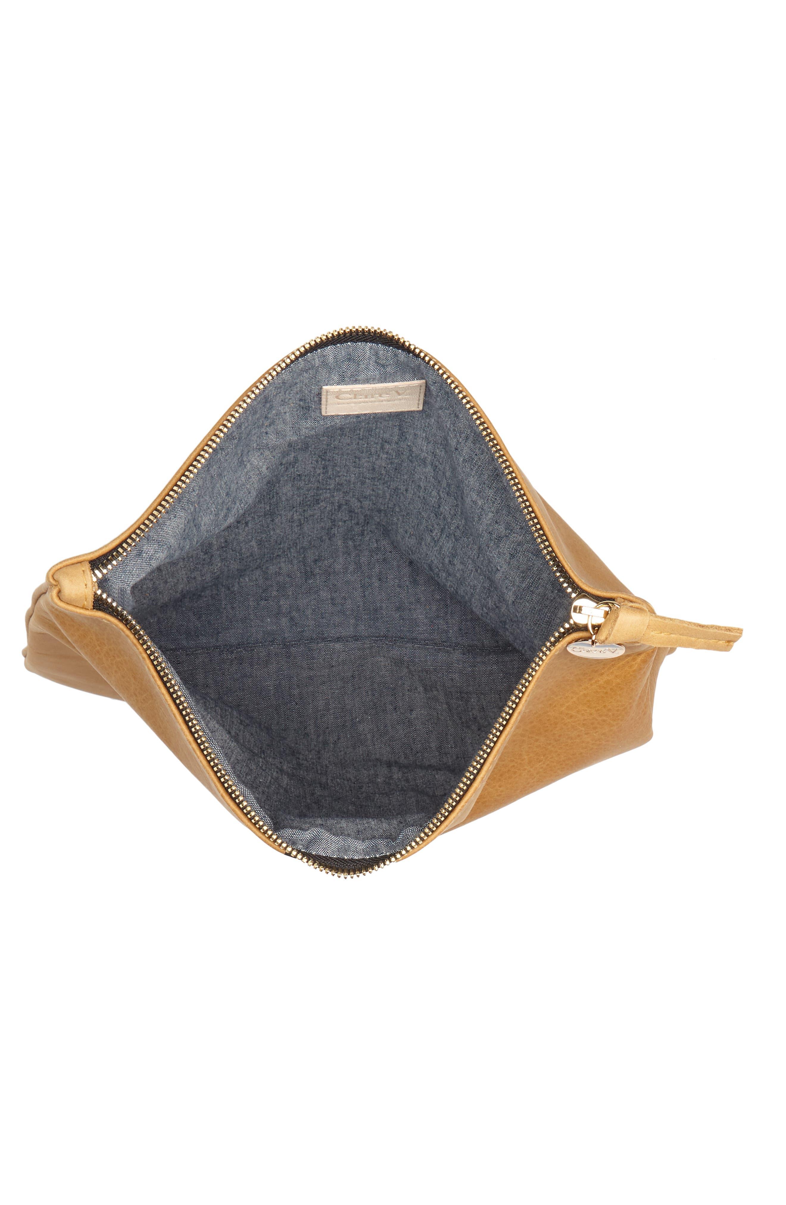 Center Stripe Leather Foldover Clutch,                             Alternate thumbnail 4, color,                             Nubuck Blck Whte Stripe