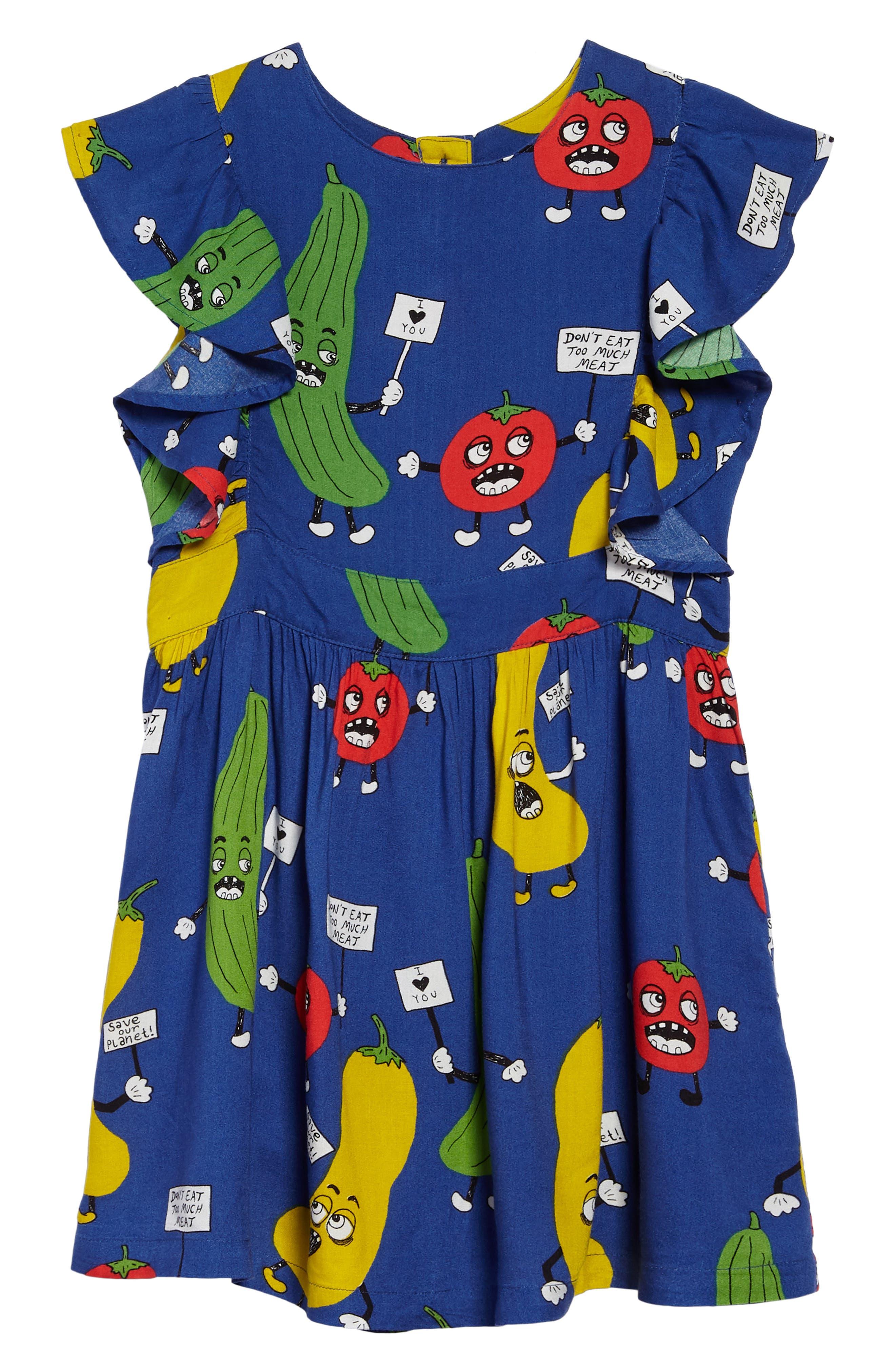 Veggie Ruffle Dress,                         Main,                         color, Blue