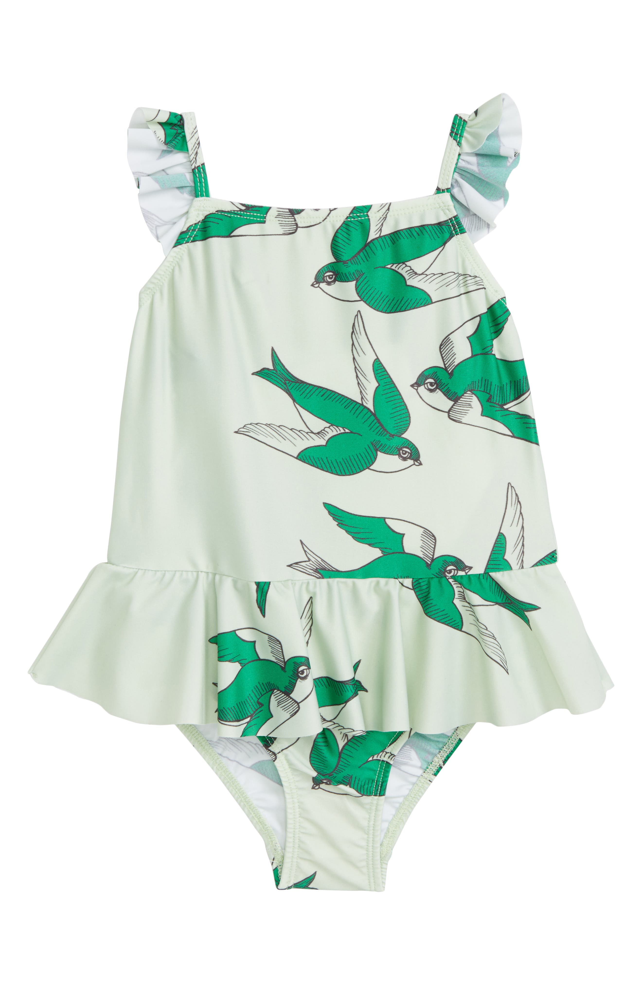 Mini Rodini Swallows Skirted One-Piece Swimsuit (Toddler Girls & Little Girls)