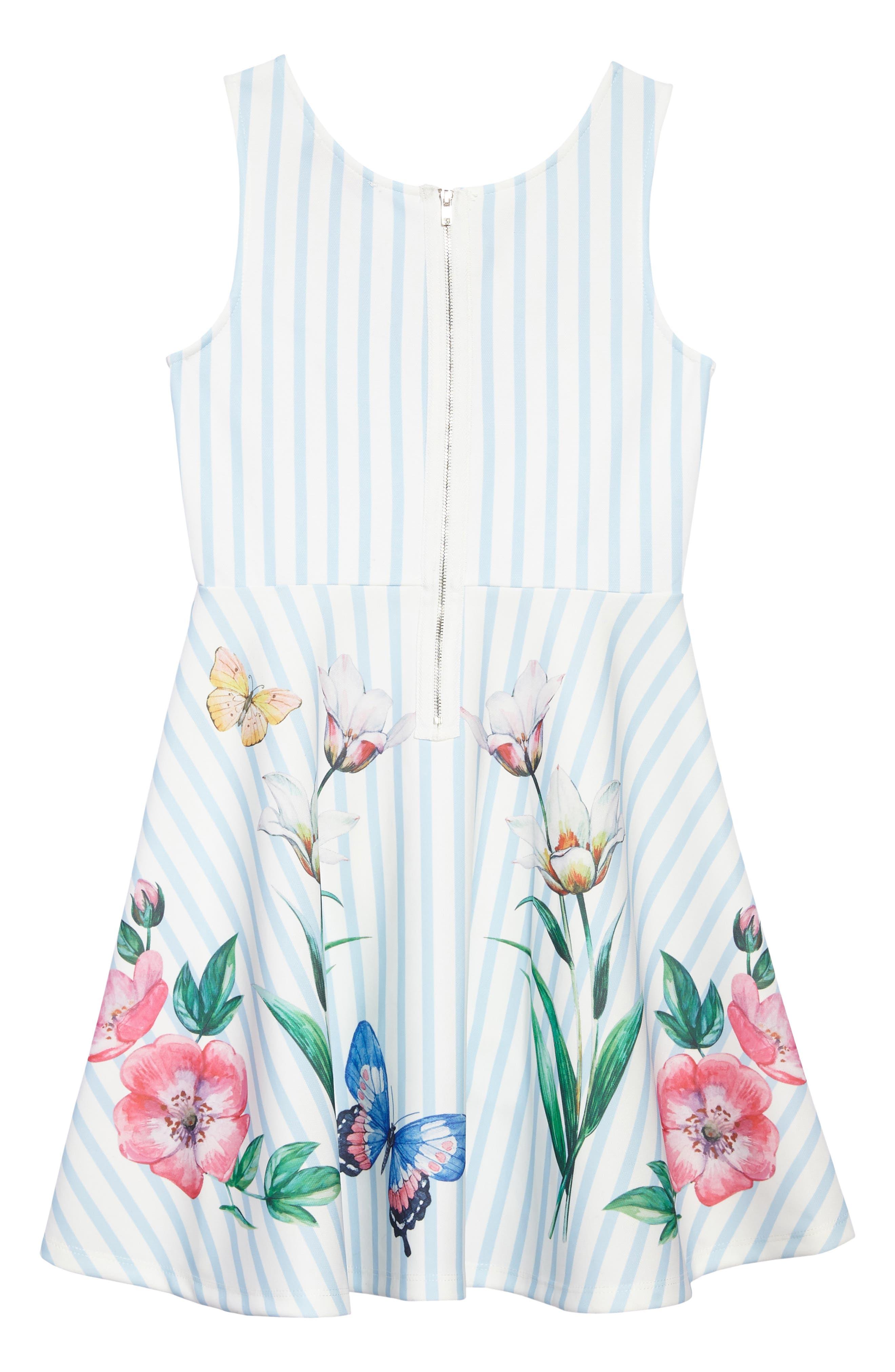 Stripe Floral Skater Dress,                             Alternate thumbnail 2, color,                             Blue/ White