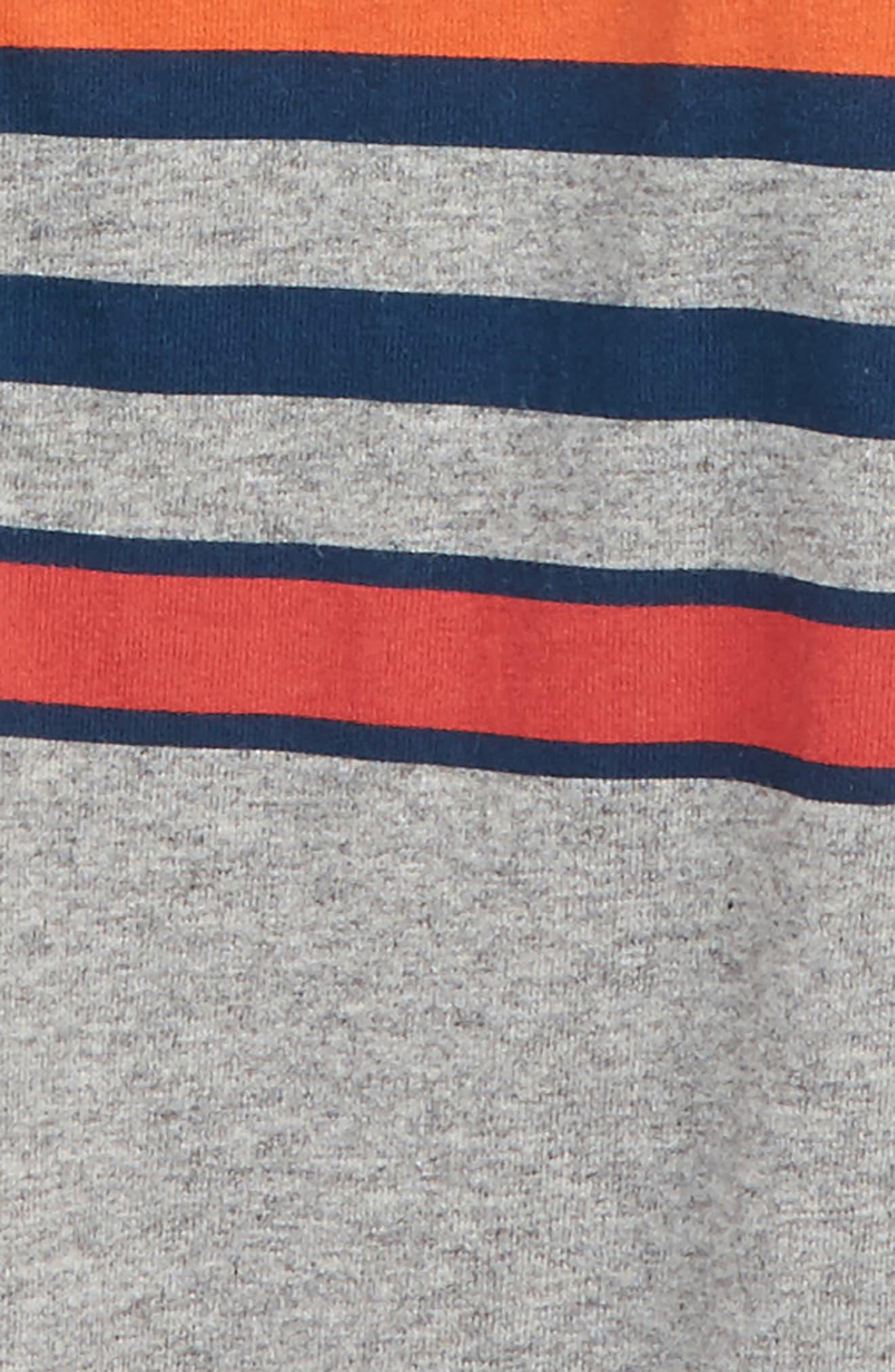 Stripe Henley Romper,                             Alternate thumbnail 2, color,                             Med Heather Grey