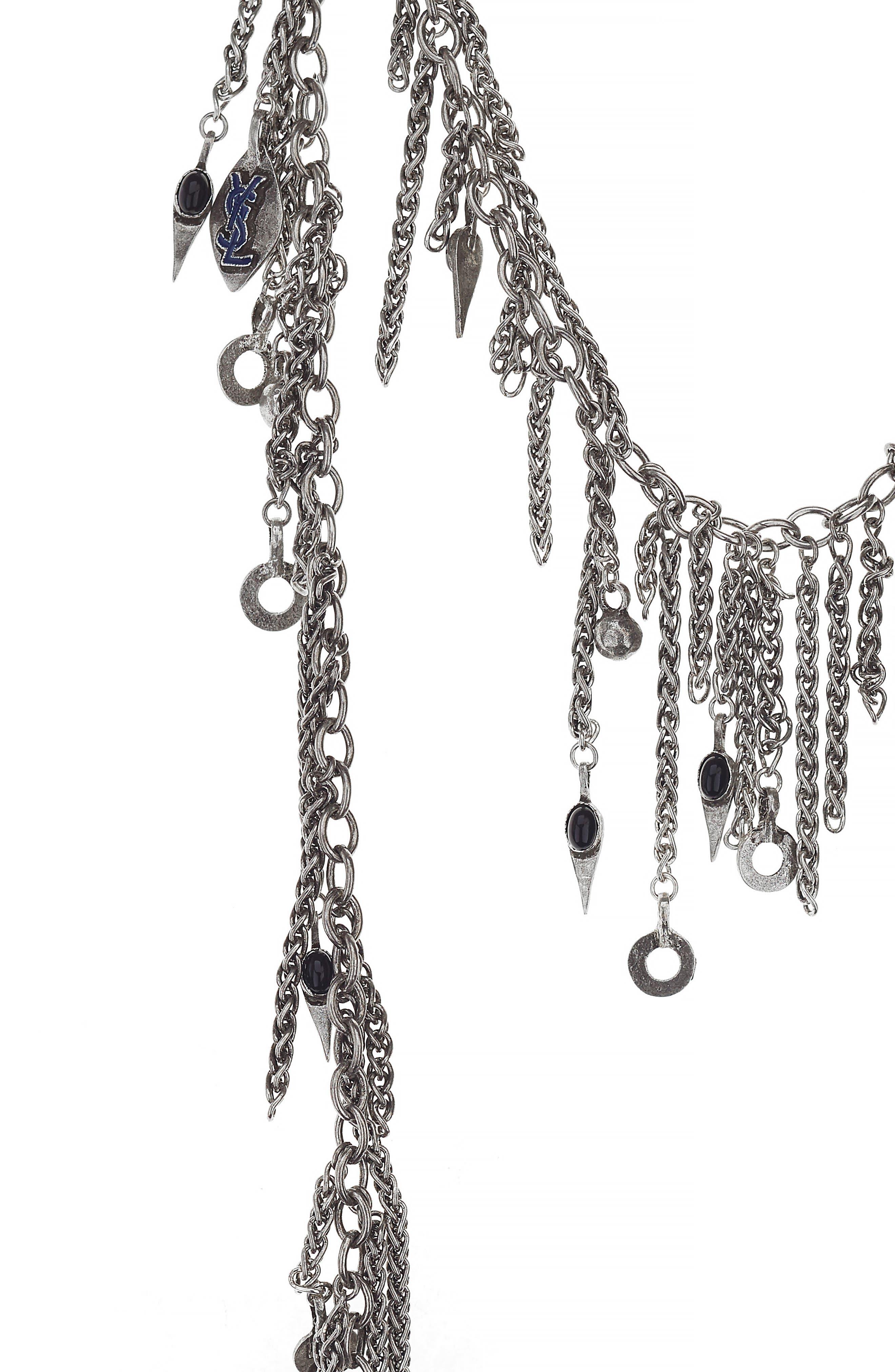 Pewter Cravat Necklace,                             Alternate thumbnail 2, color,                             Argt Oxyde/ Noir/ Bleu