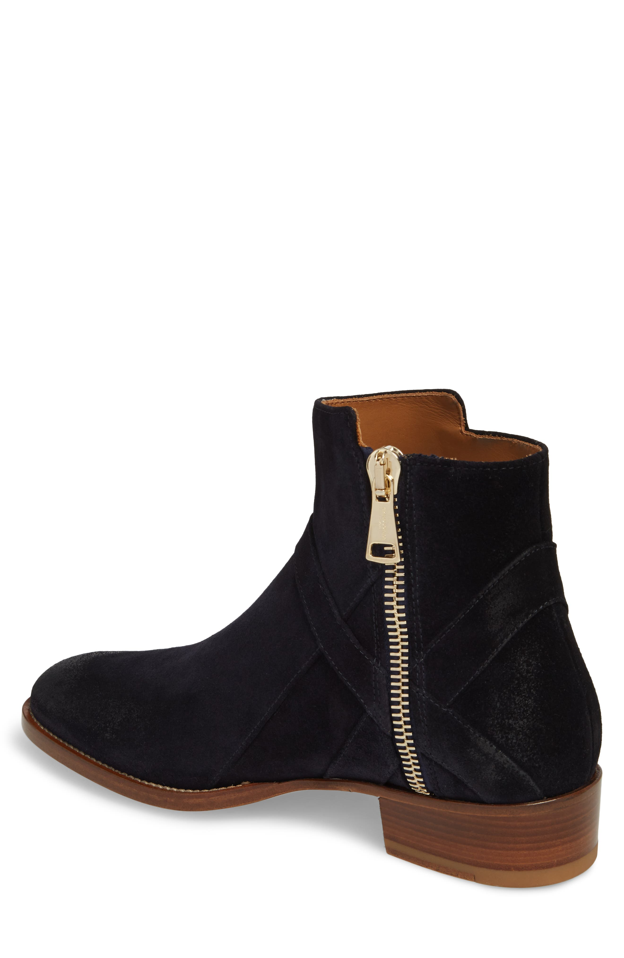 Bowie Zip Boot,                             Alternate thumbnail 2, color,                             Navy Suede