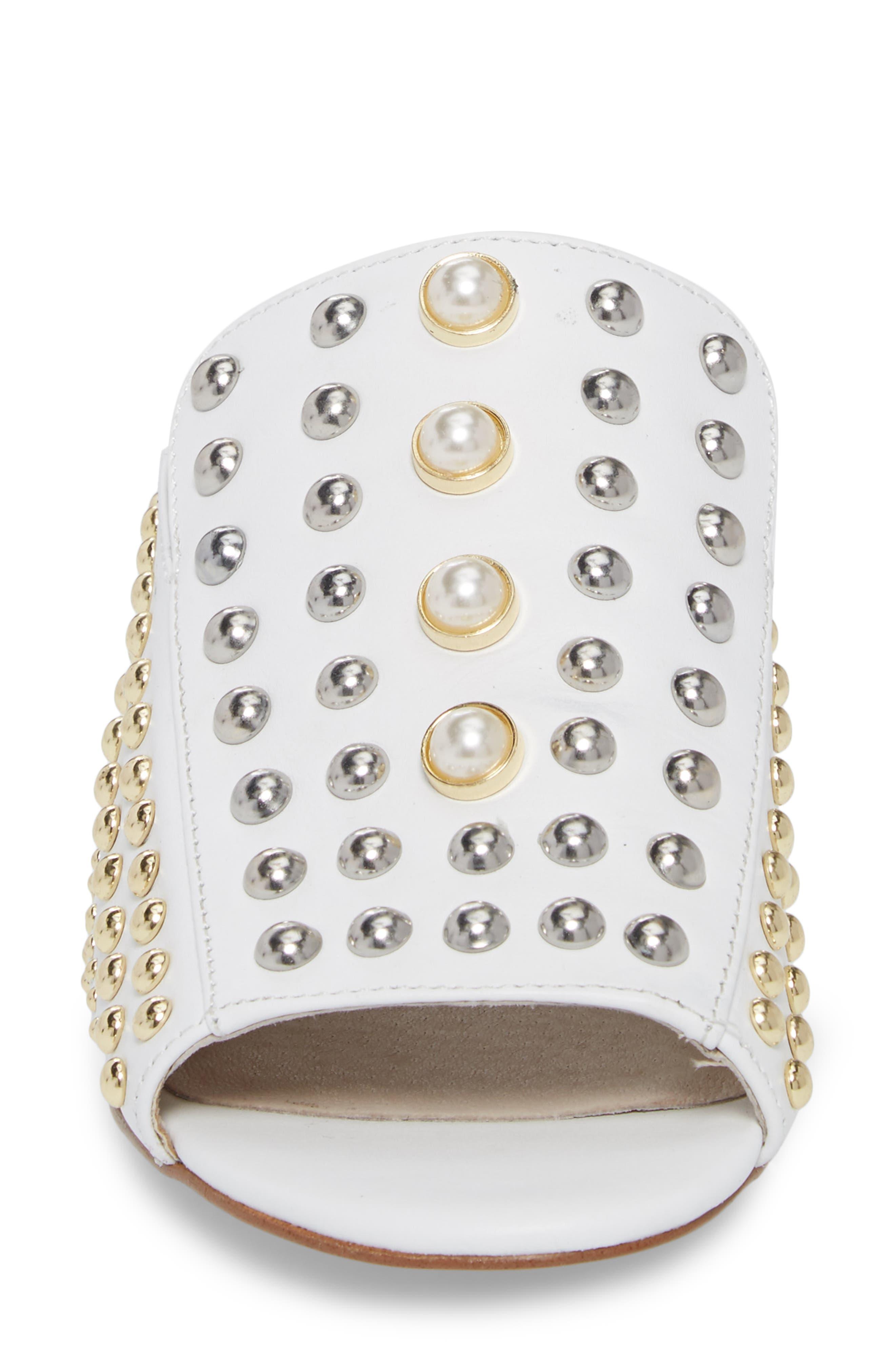 Farley Studded Slide Sandal,                             Alternate thumbnail 4, color,                             White Leather
