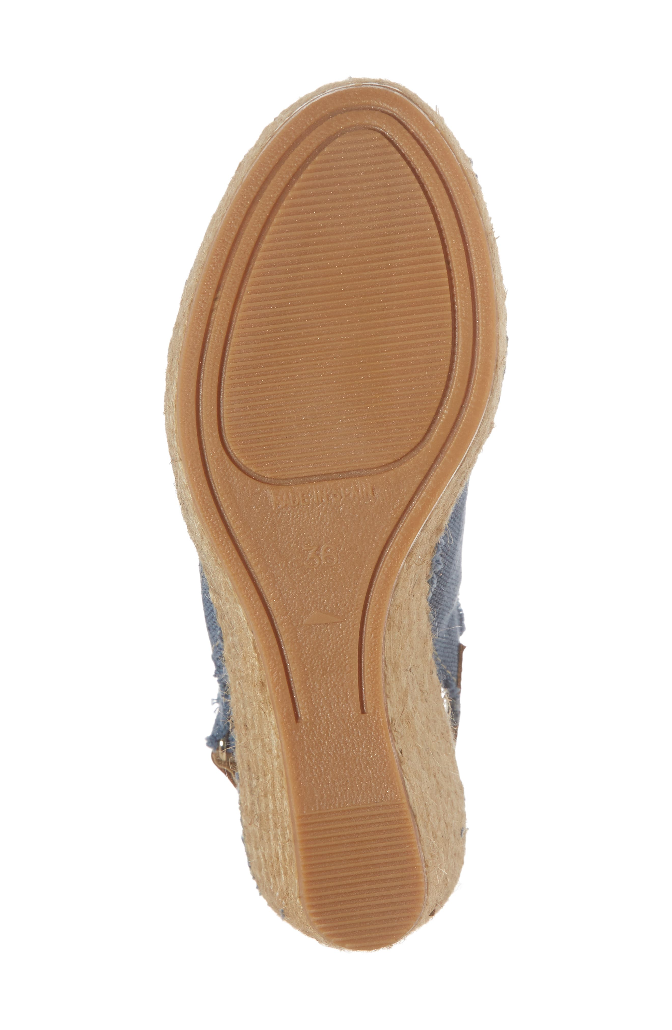 'Lugano' Espadrille Wedge Sandal,                             Alternate thumbnail 6, color,                             Blue Fabric