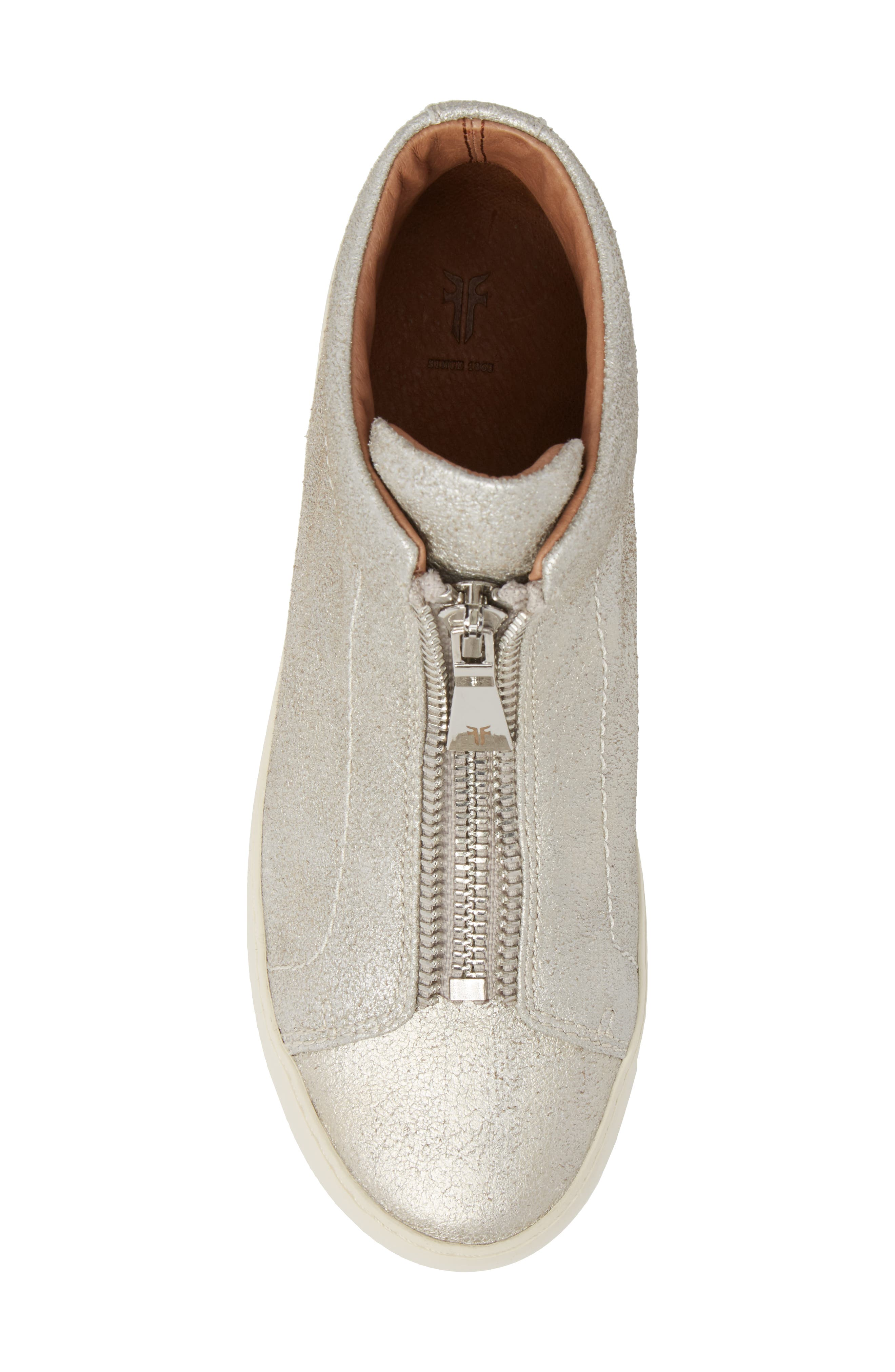 Lena Zip High Top Sneaker,                             Alternate thumbnail 5, color,                             Silver