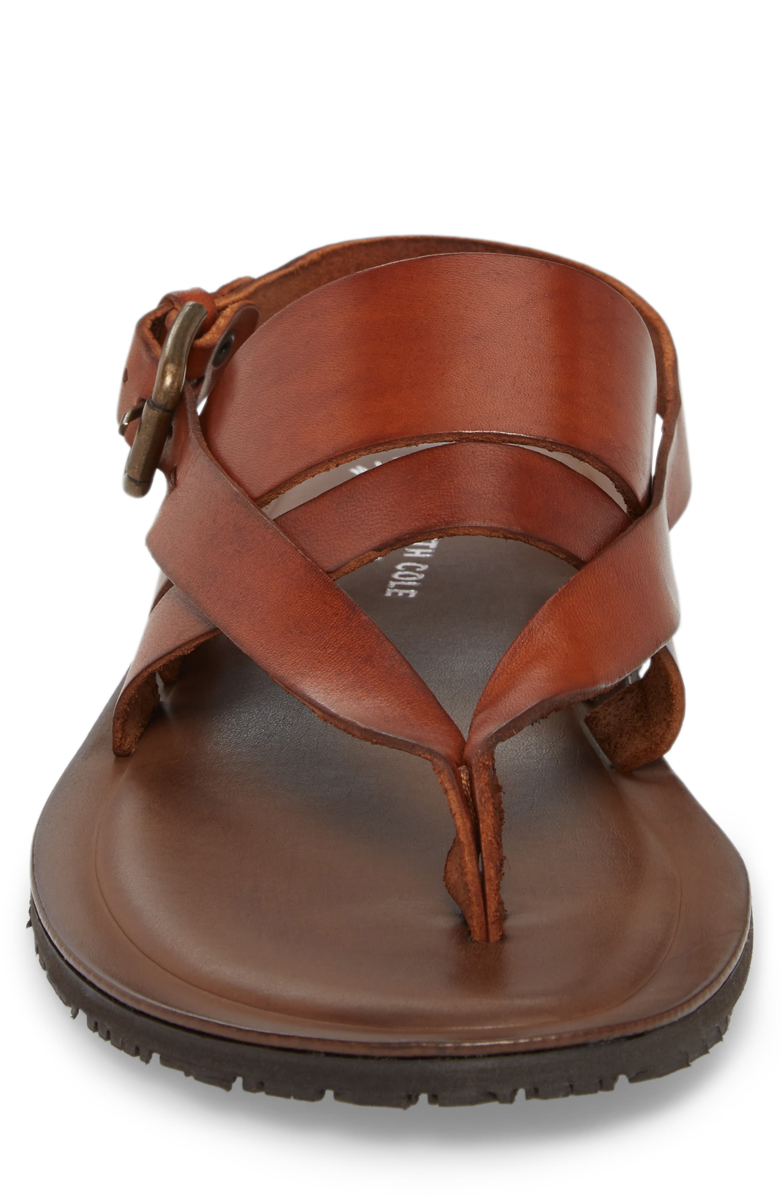 'Reel-Ist' Sandal,                             Alternate thumbnail 4, color,                             Cognac Leather
